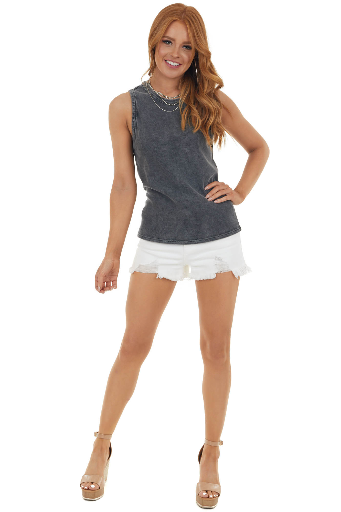 Stonewashed Charcoal Stretchy Ribbed Tank Top