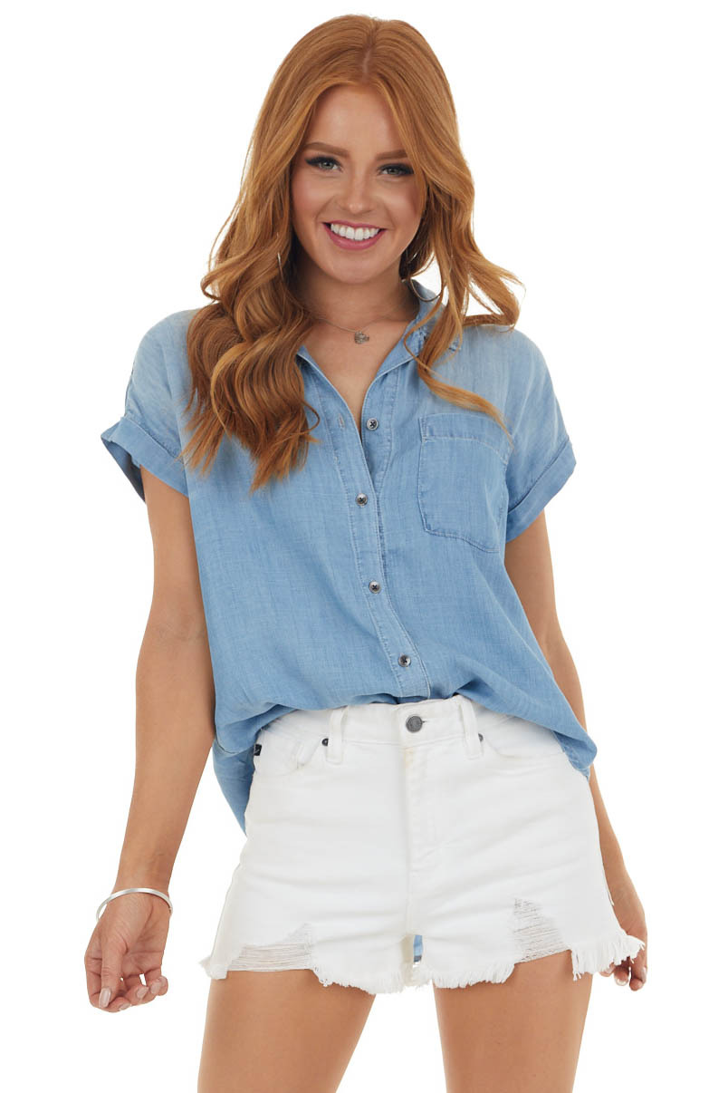 Light Washed Denim Blouse with Cuffed Sleeves