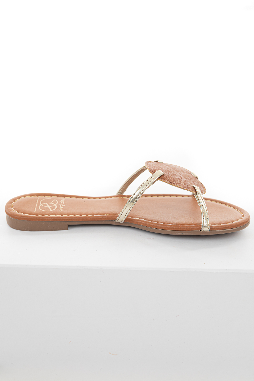 Sienna and Gold Circle Detail Slip On Sandals