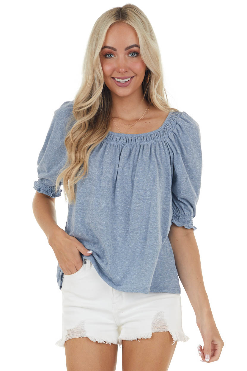 Dusty Blue Two Tone Short Sleeve Top with Ruffle Details