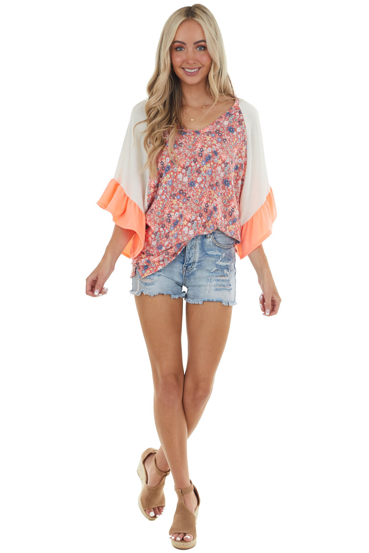 Faded Cherry Floral Short Ruffle Sleeve Top