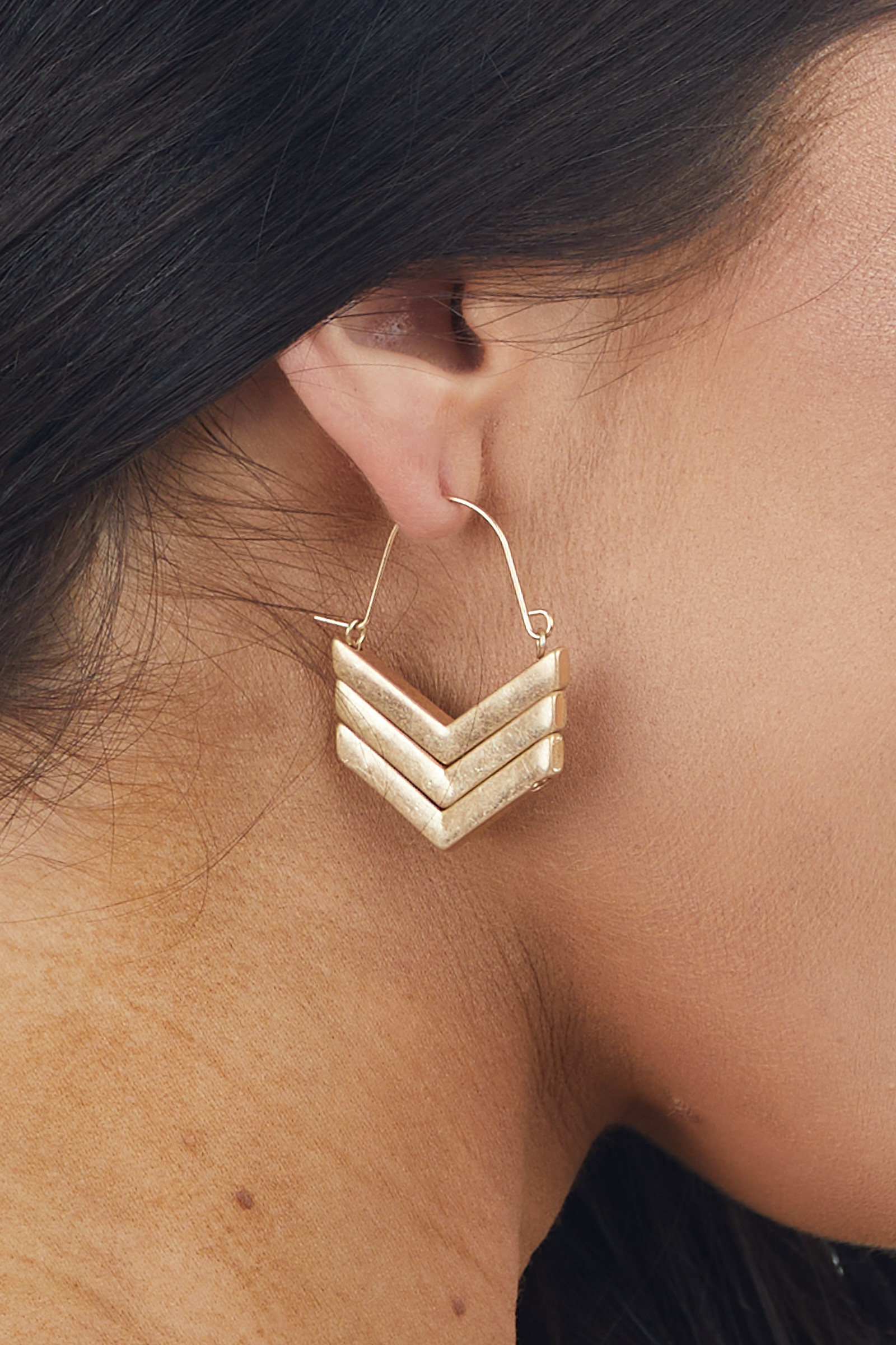Brushed Gold Chevron Abstract Hoop Earrings