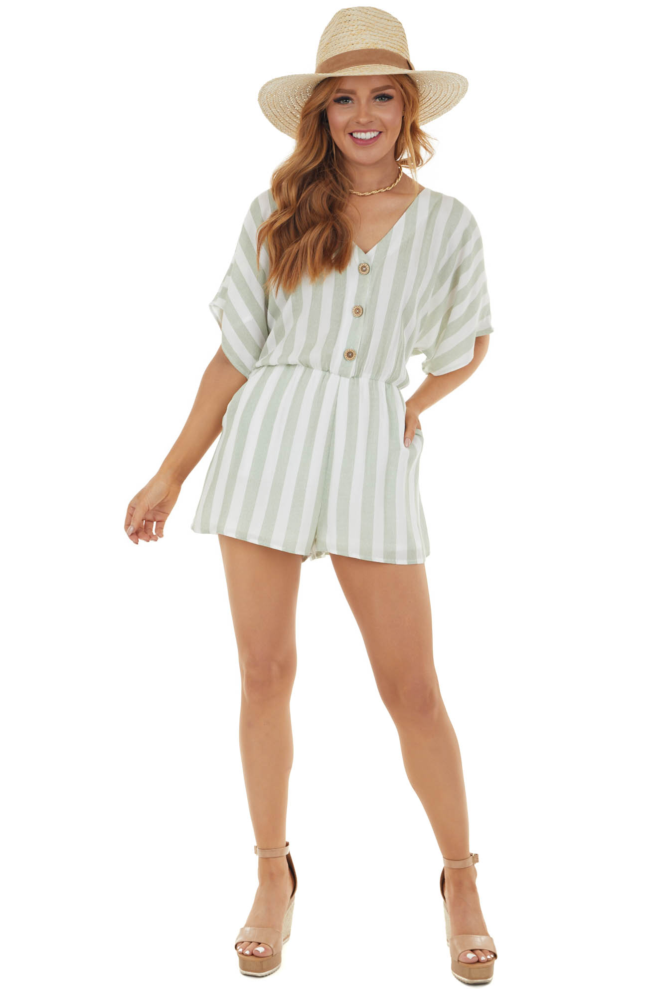 Sage and Ivory Striped Romper with Short Sleeves