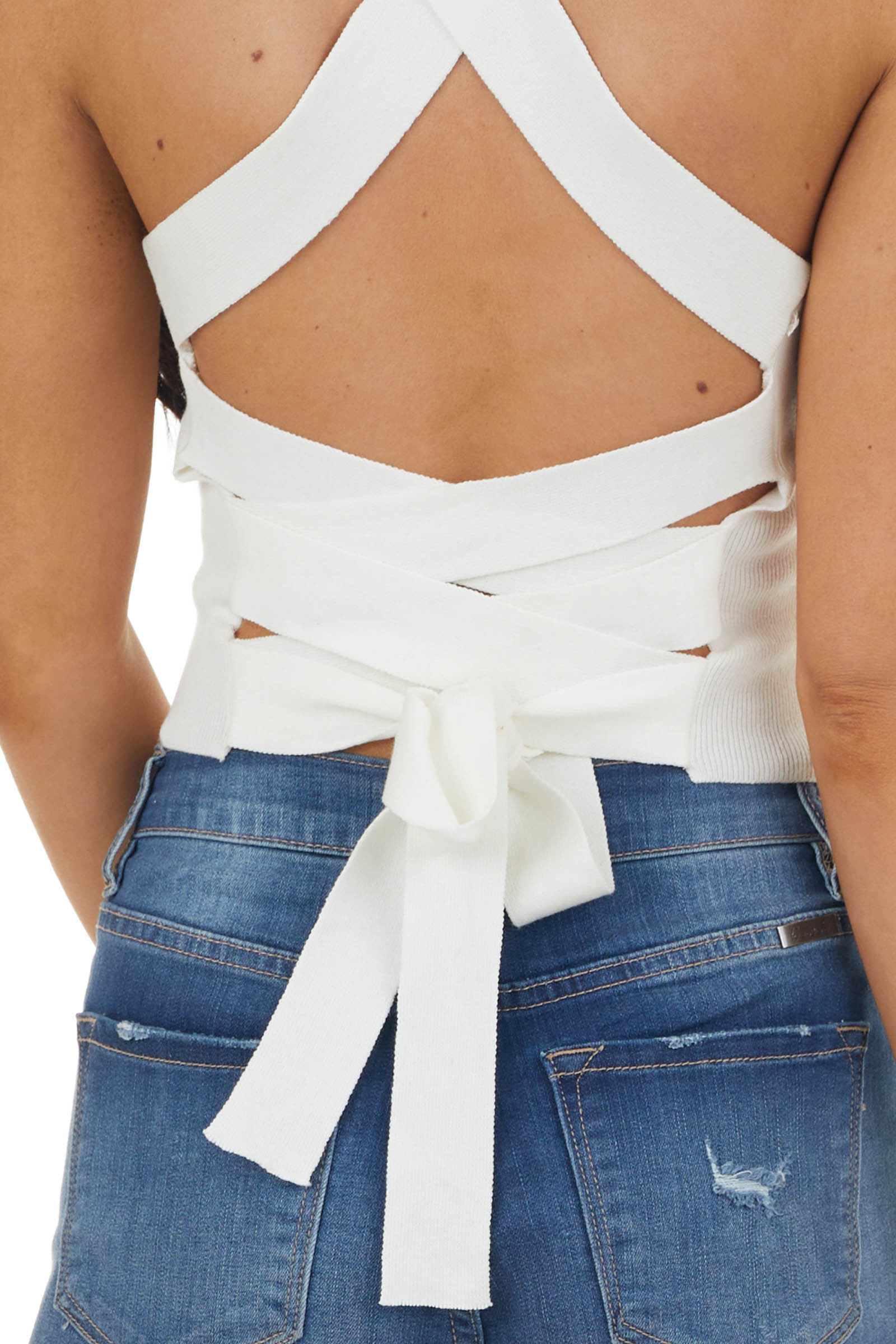 Ivory Ribbed Knit Criss Cross Back Crop Top