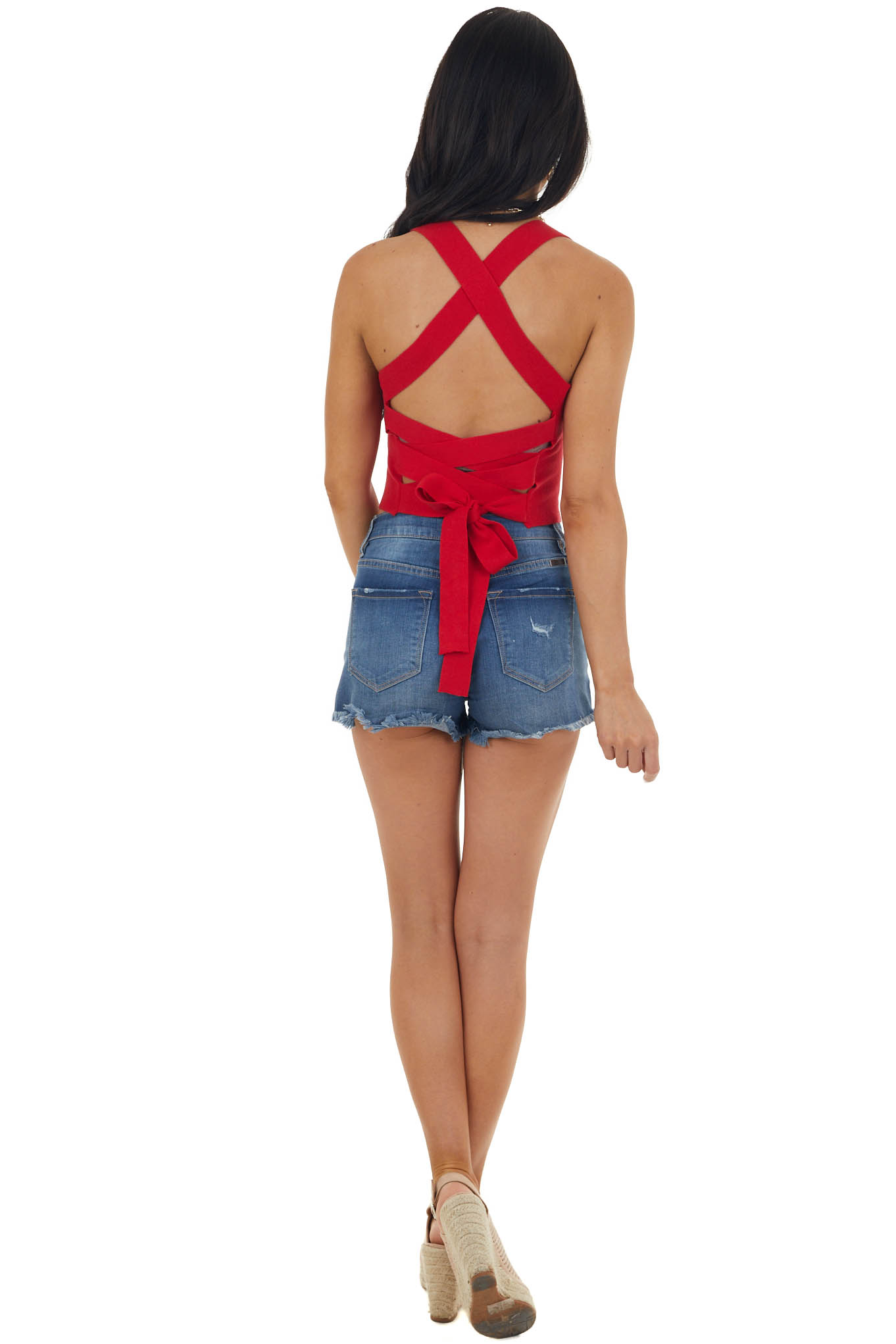 Cherry Ribbed Knit Criss Cross Back Crop Top