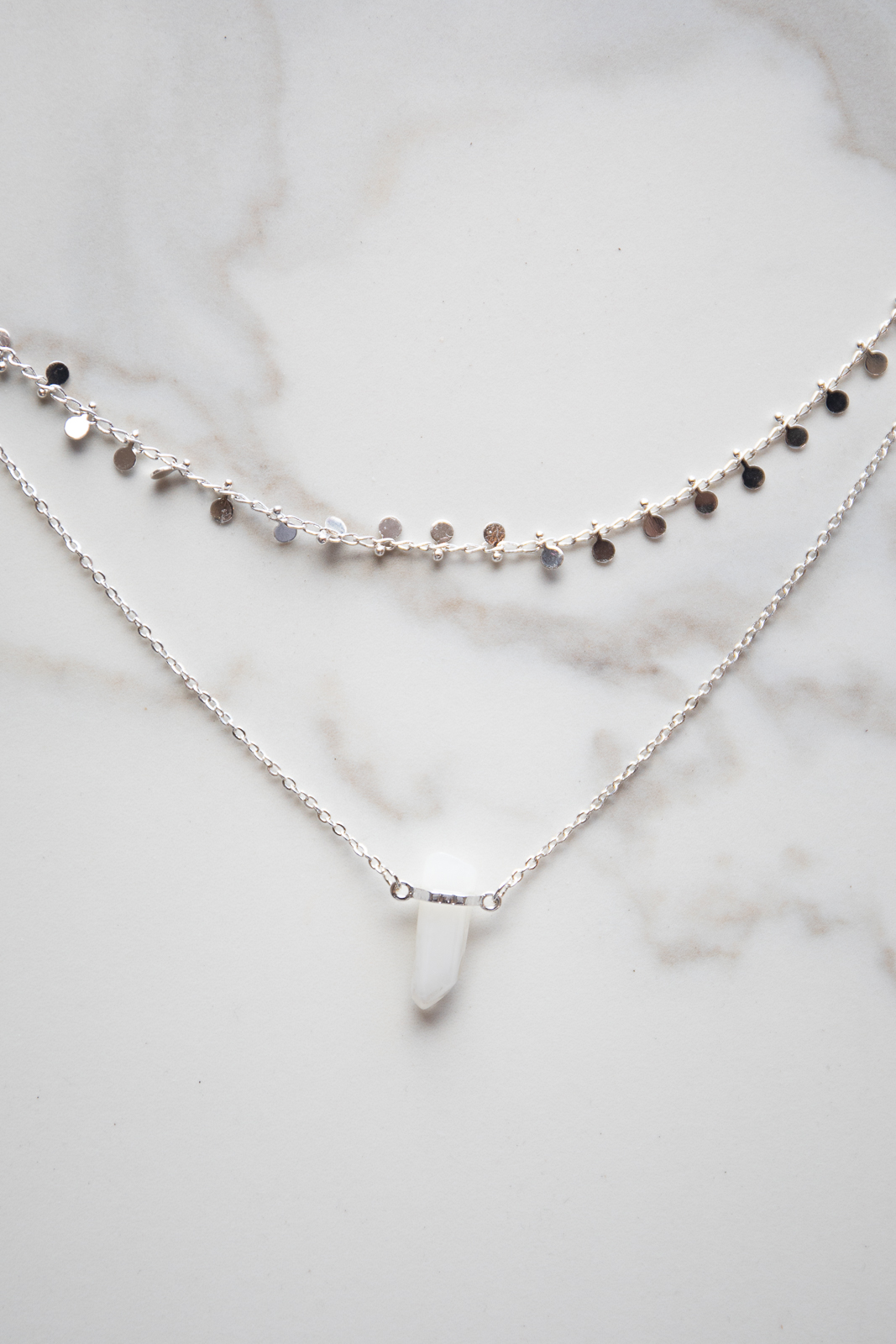 White Gold Double Layer Necklace with Crystal