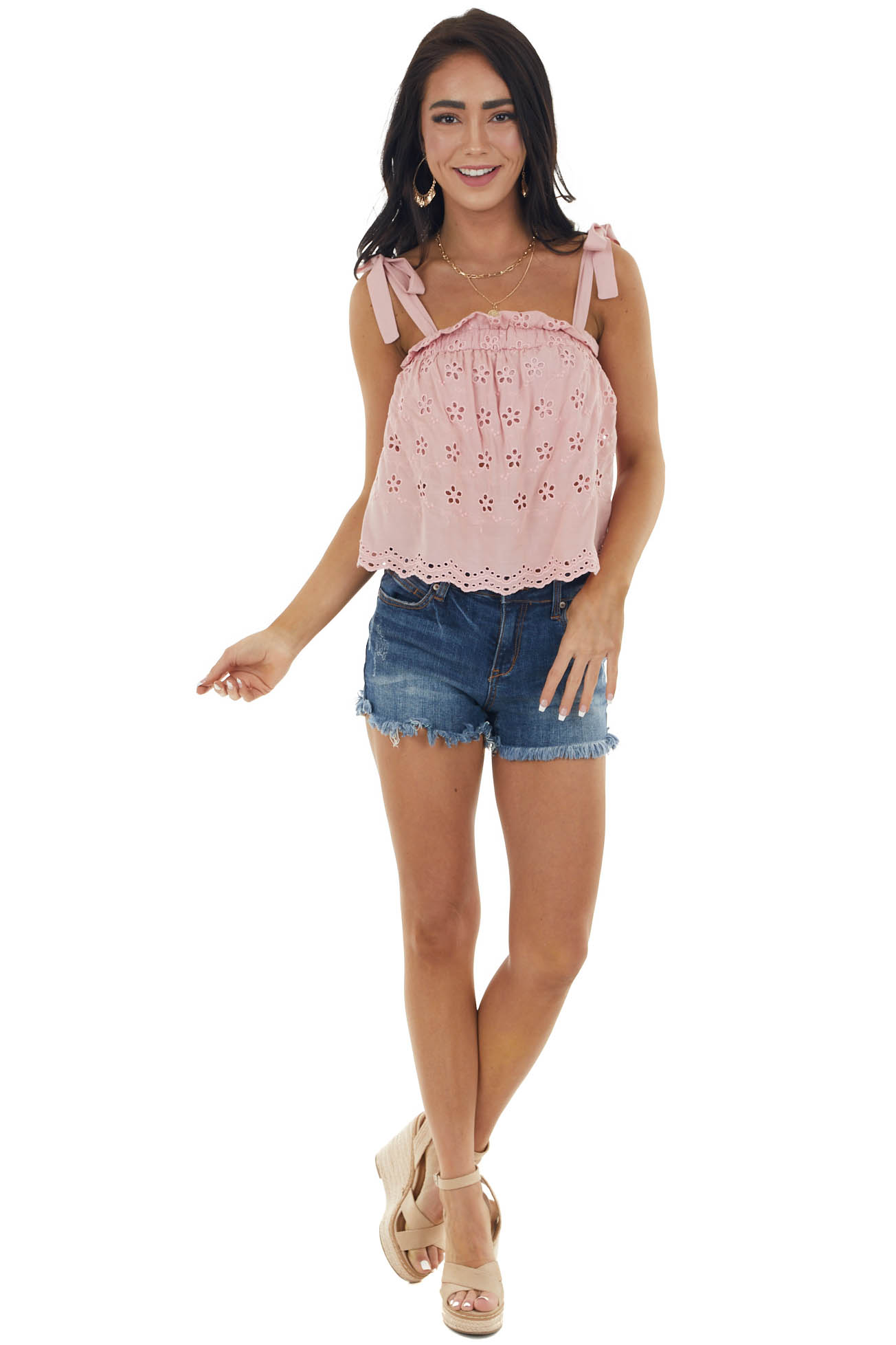 Dusty Pink Floral Eyelet Lace Sleeveless Top with Strap Ties