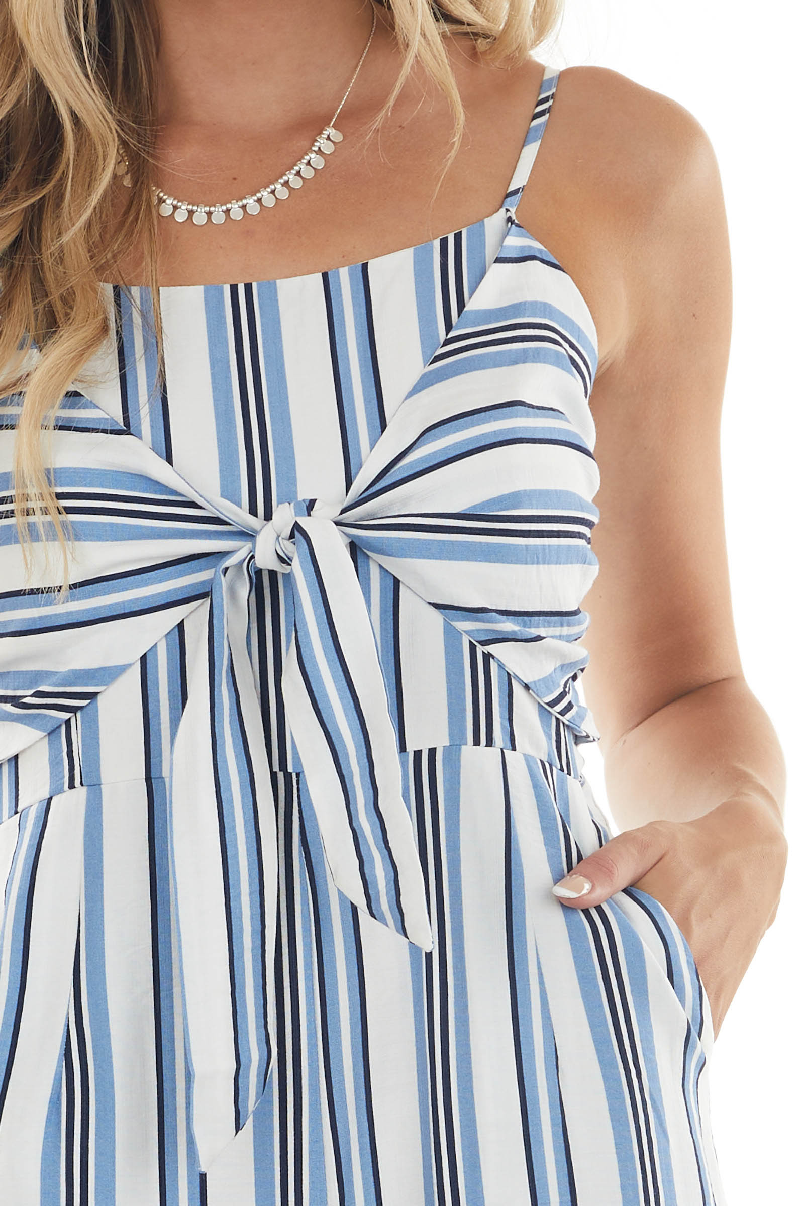 Off White and Powder Blue Striped Jumpsuit