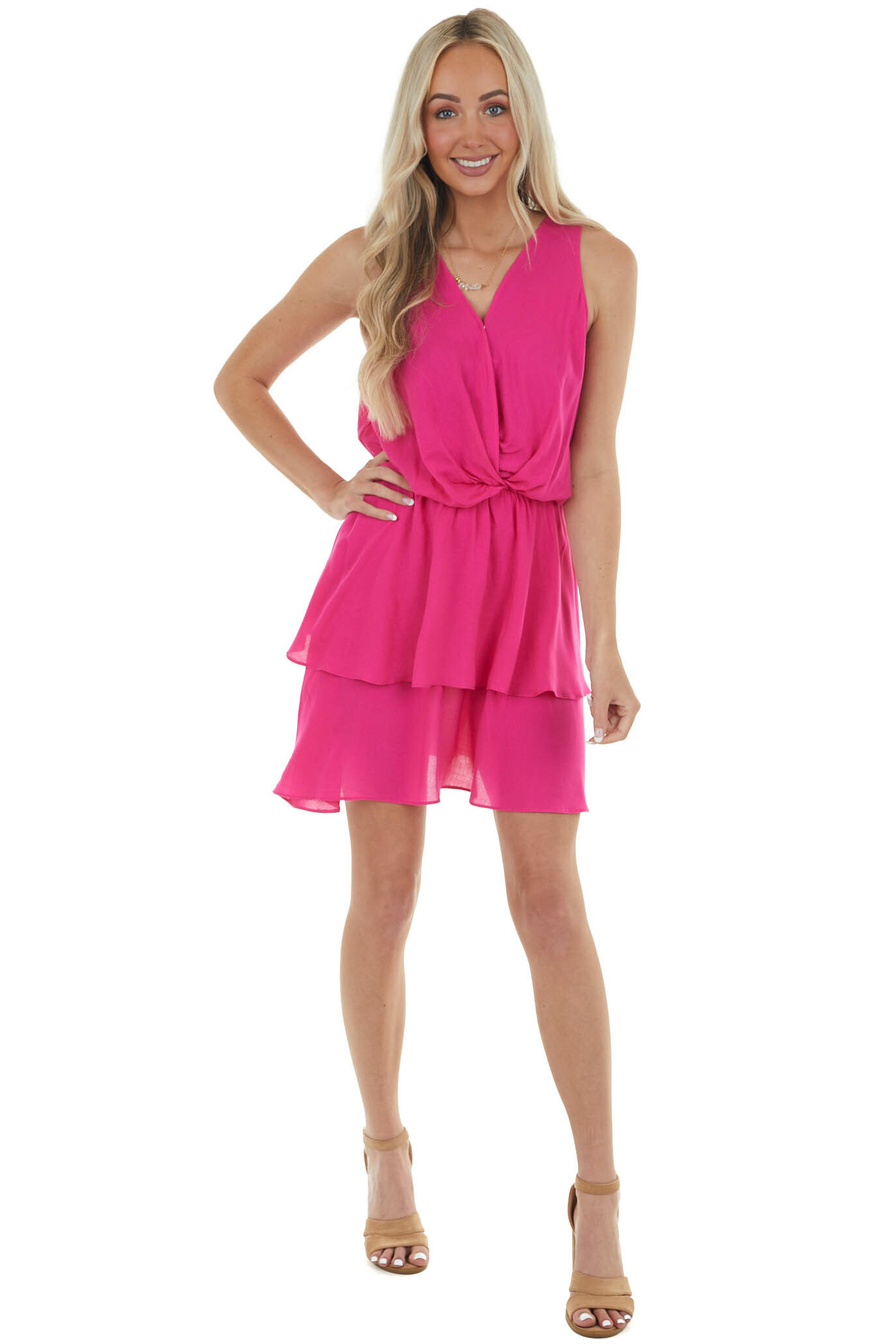 Hot Pink V Neck Mini Dress with Ruffle Detail