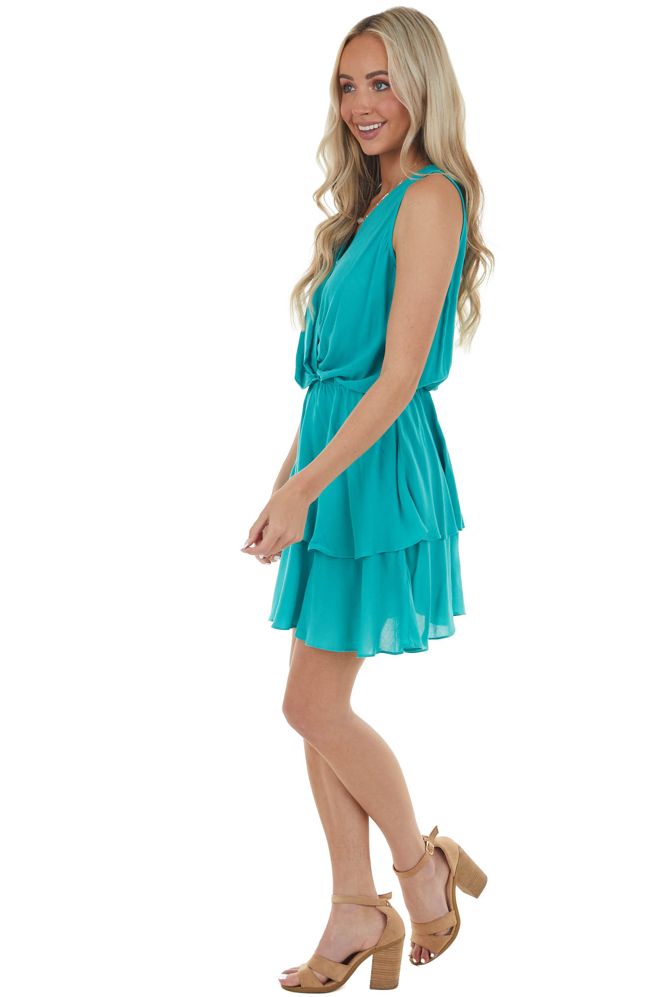 Teal V Neck Mini Dress with Ruffle Detail