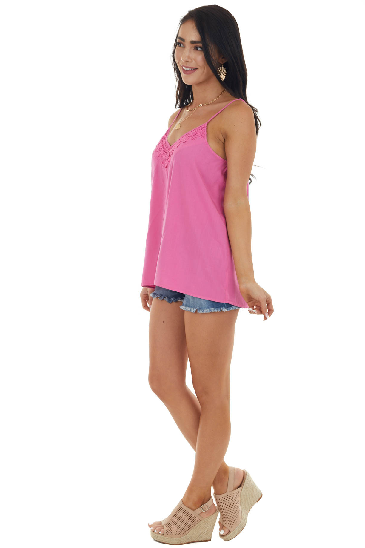 Magenta V Neck Sleeveless Cami Tank Top with Lace Detail