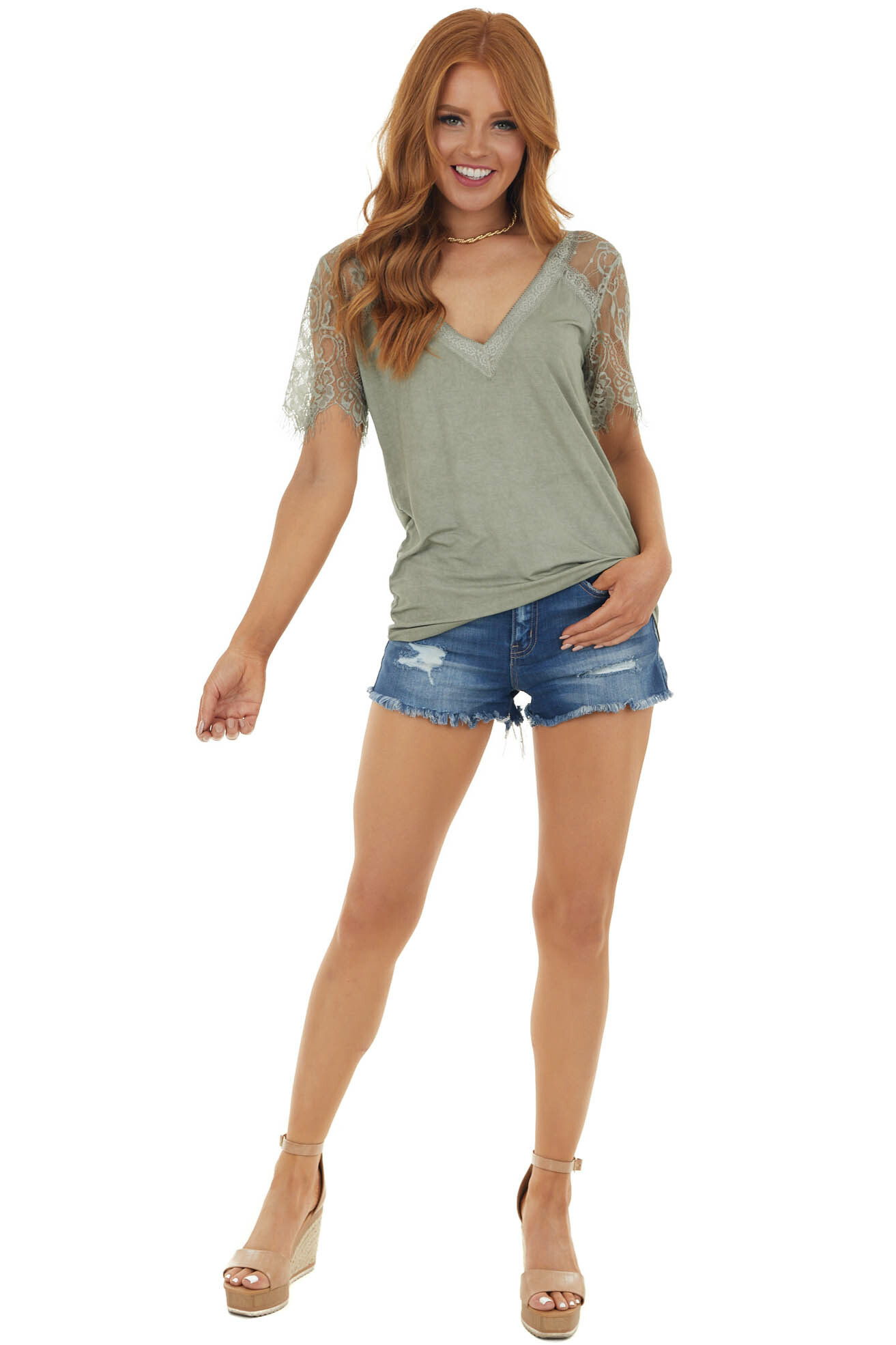 Sage V Neck Short Sleeve Top with Lace Detail
