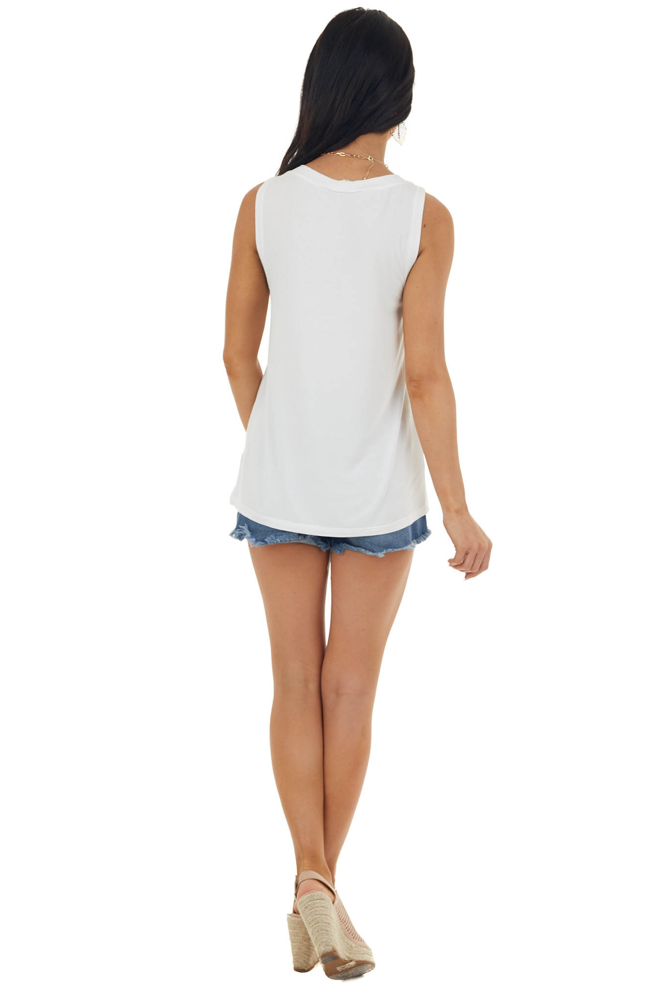 Ivory Stretchy Knit Tank Top with Buttons