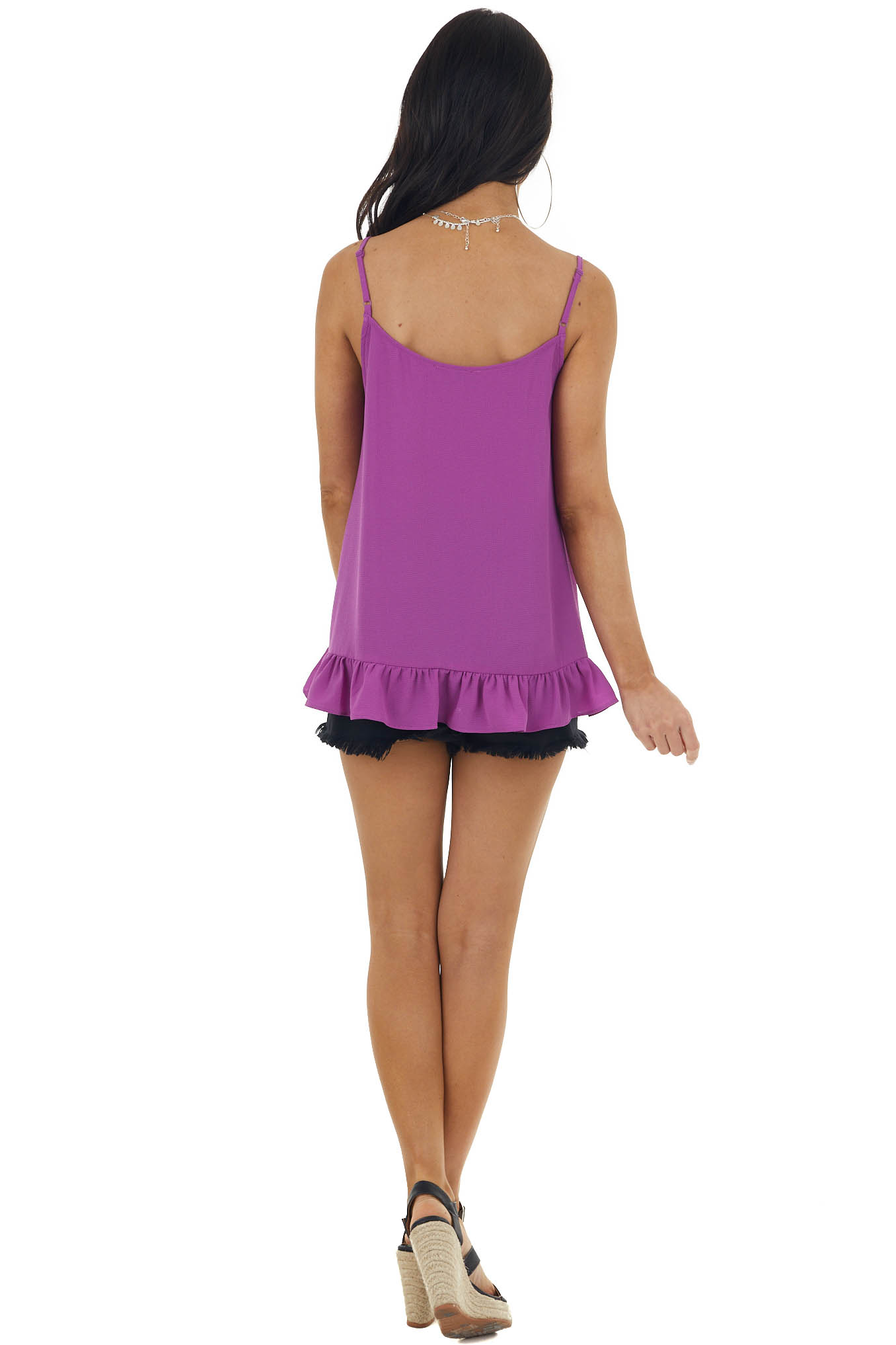 Orchid V Neck Tank Top with Ruffle Detail