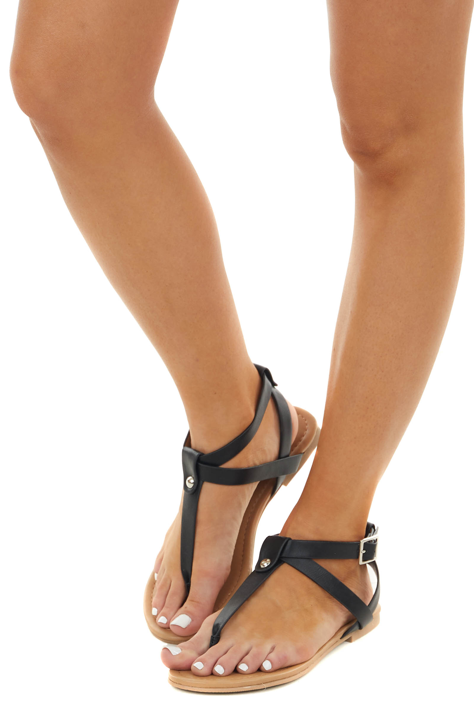 Black Strappy Sandals with Silver Stud