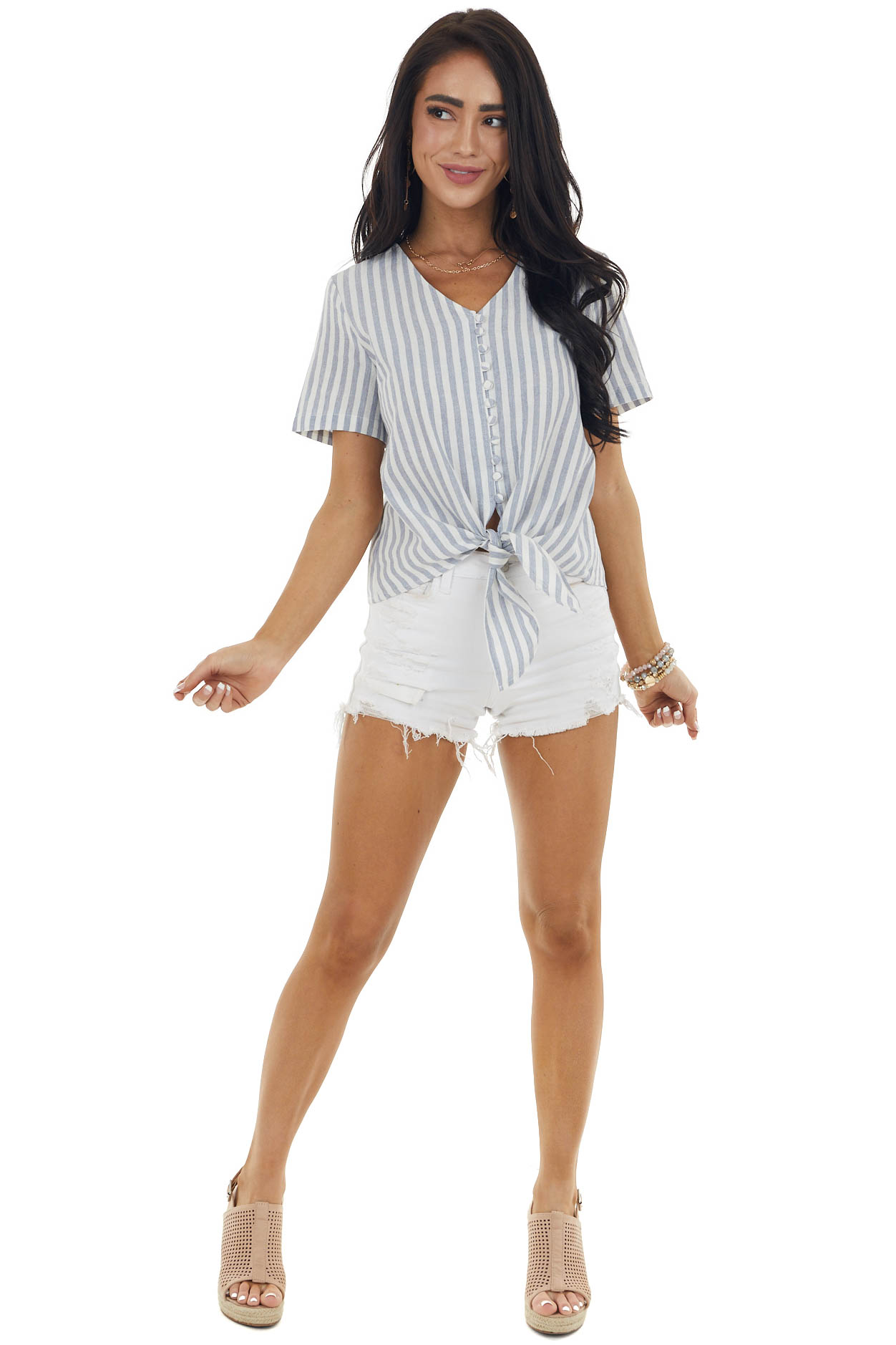 Denim Blue and Eggshell Striped Button Up Top