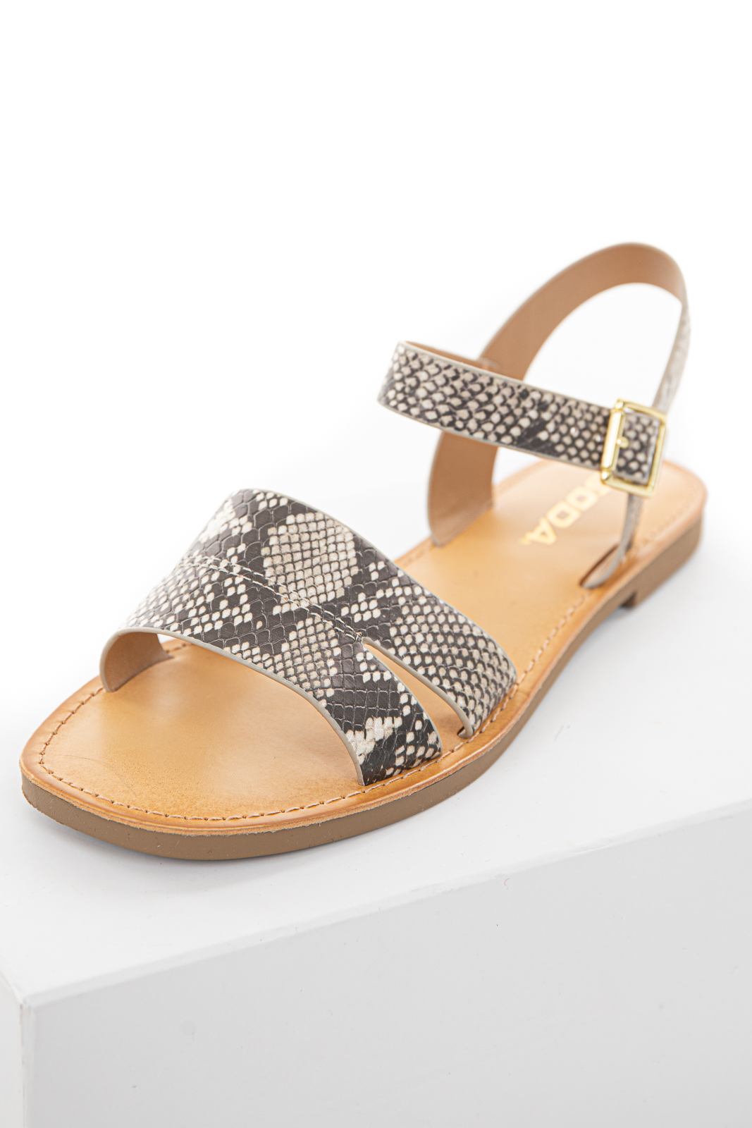 Taupe Snakeskin Print Textured Strappy Sandal
