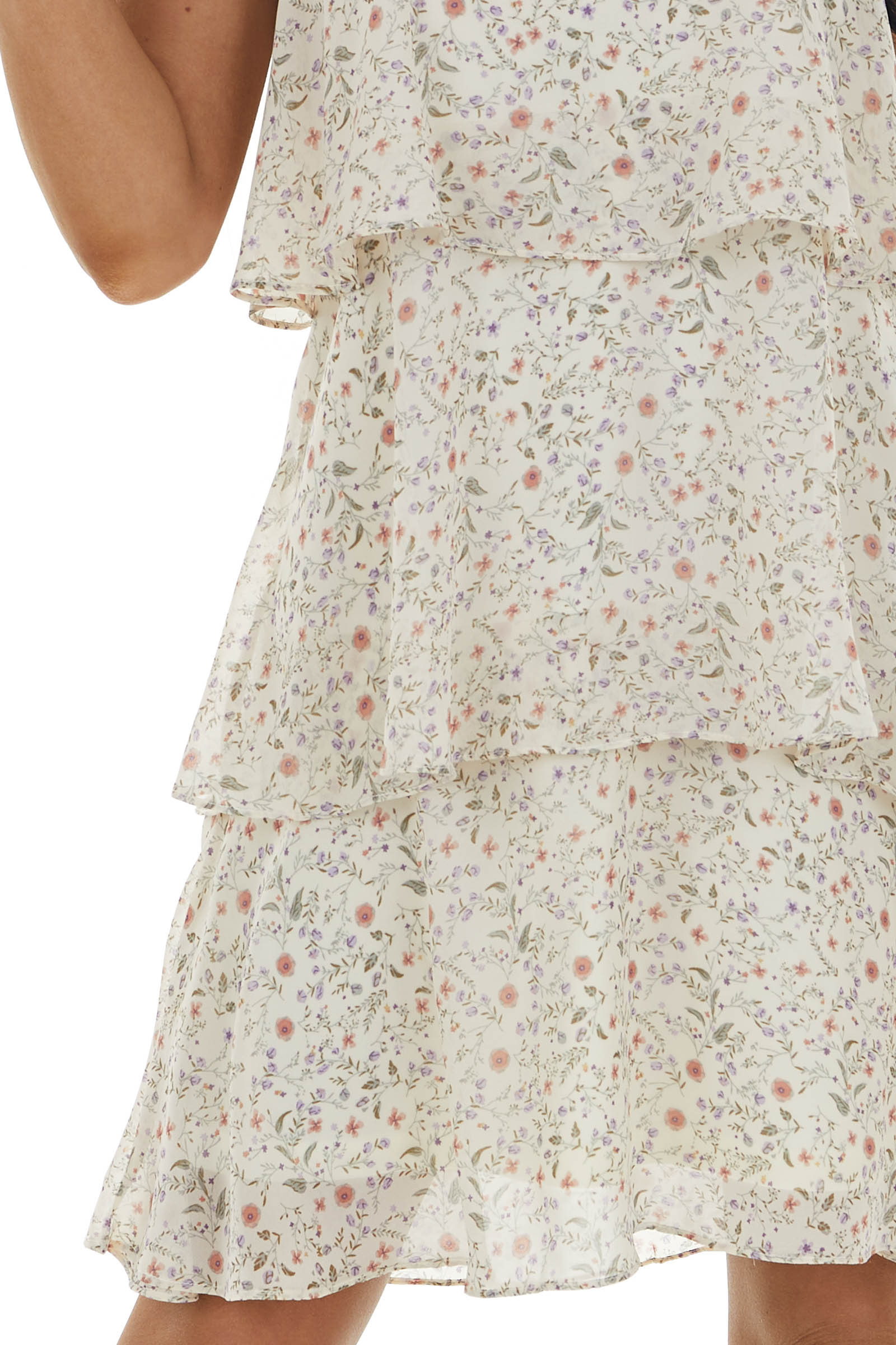 Cream Floral Print Tiered Dress with Ruffles