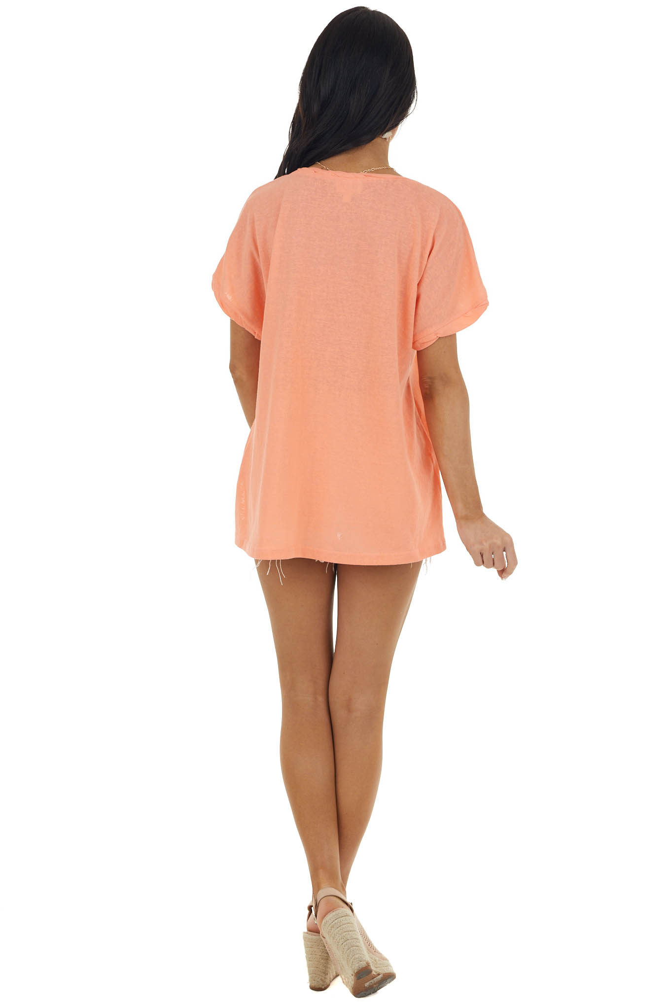 Deep Peach Knit Top with Twisted Neck and Cuff