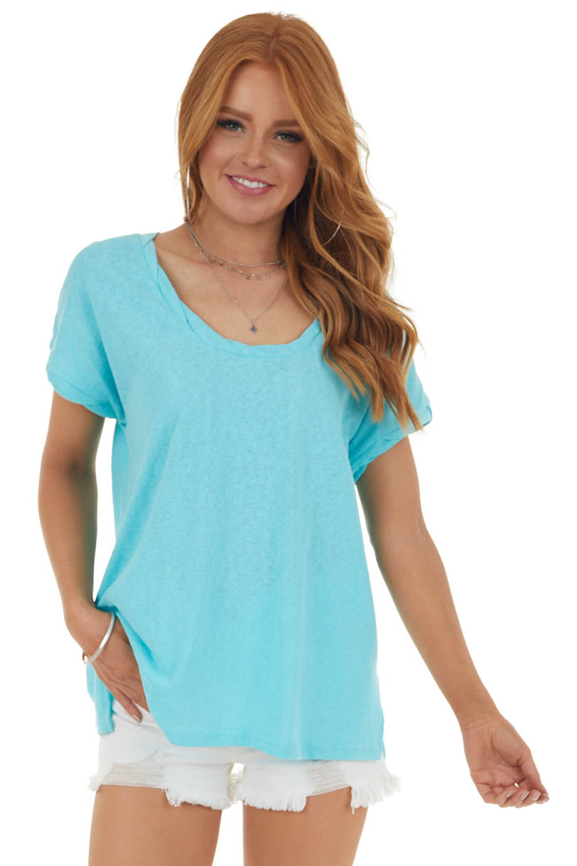 Aqua Knit Top with Twisted Neck and Cuff