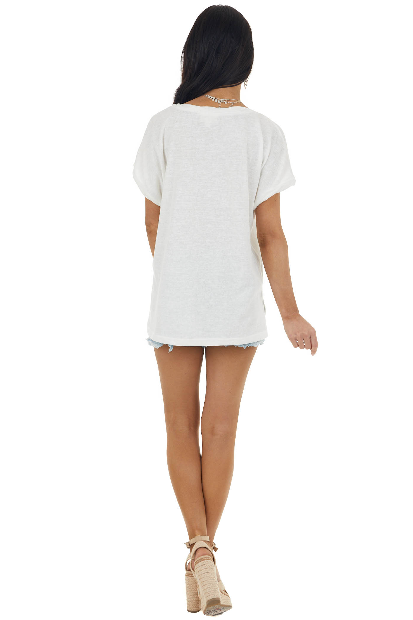 Off White Knit Tee with Twisted Neck and Cuff