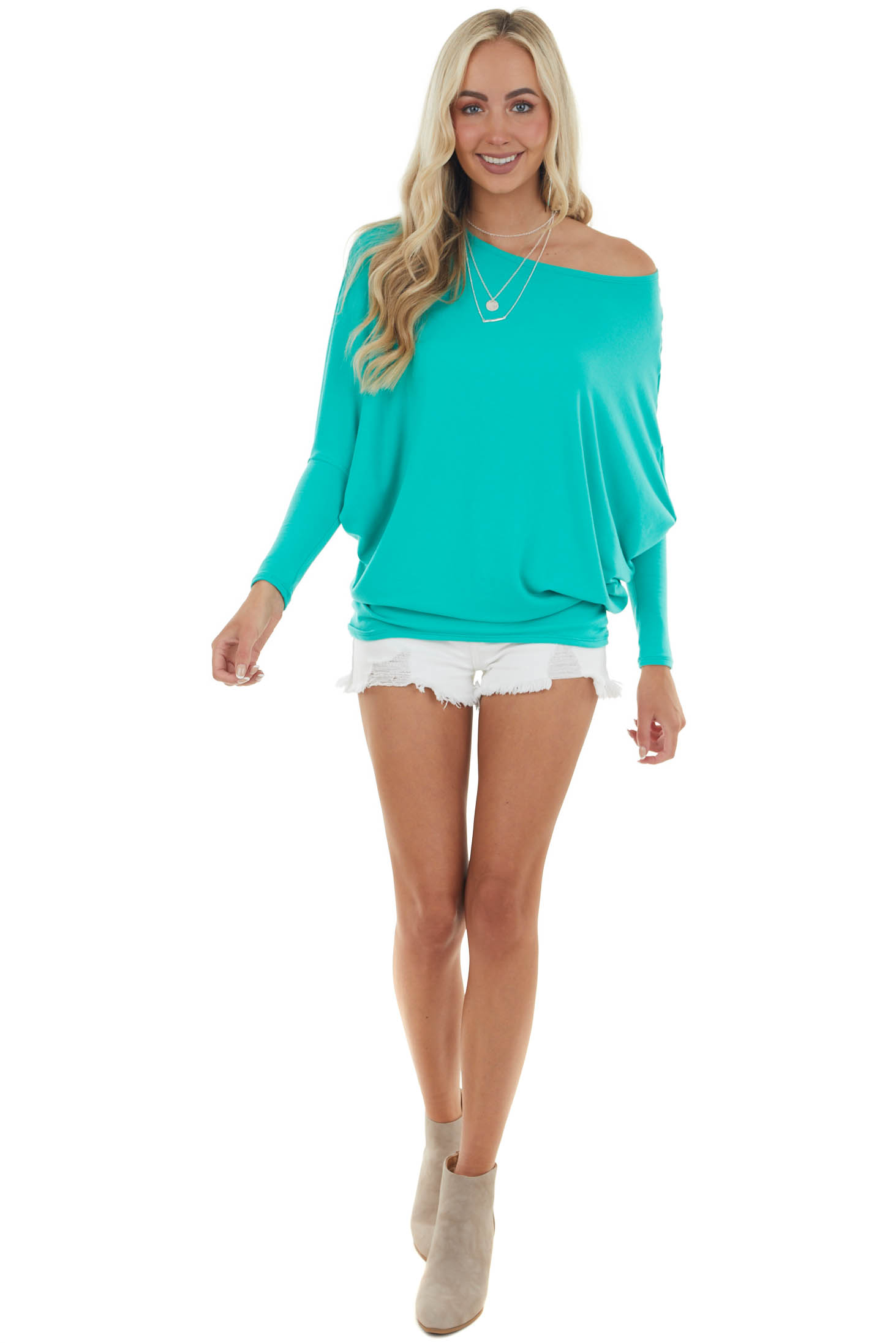 Aquamarine Round Neck Top with Long Dolman Sleeves