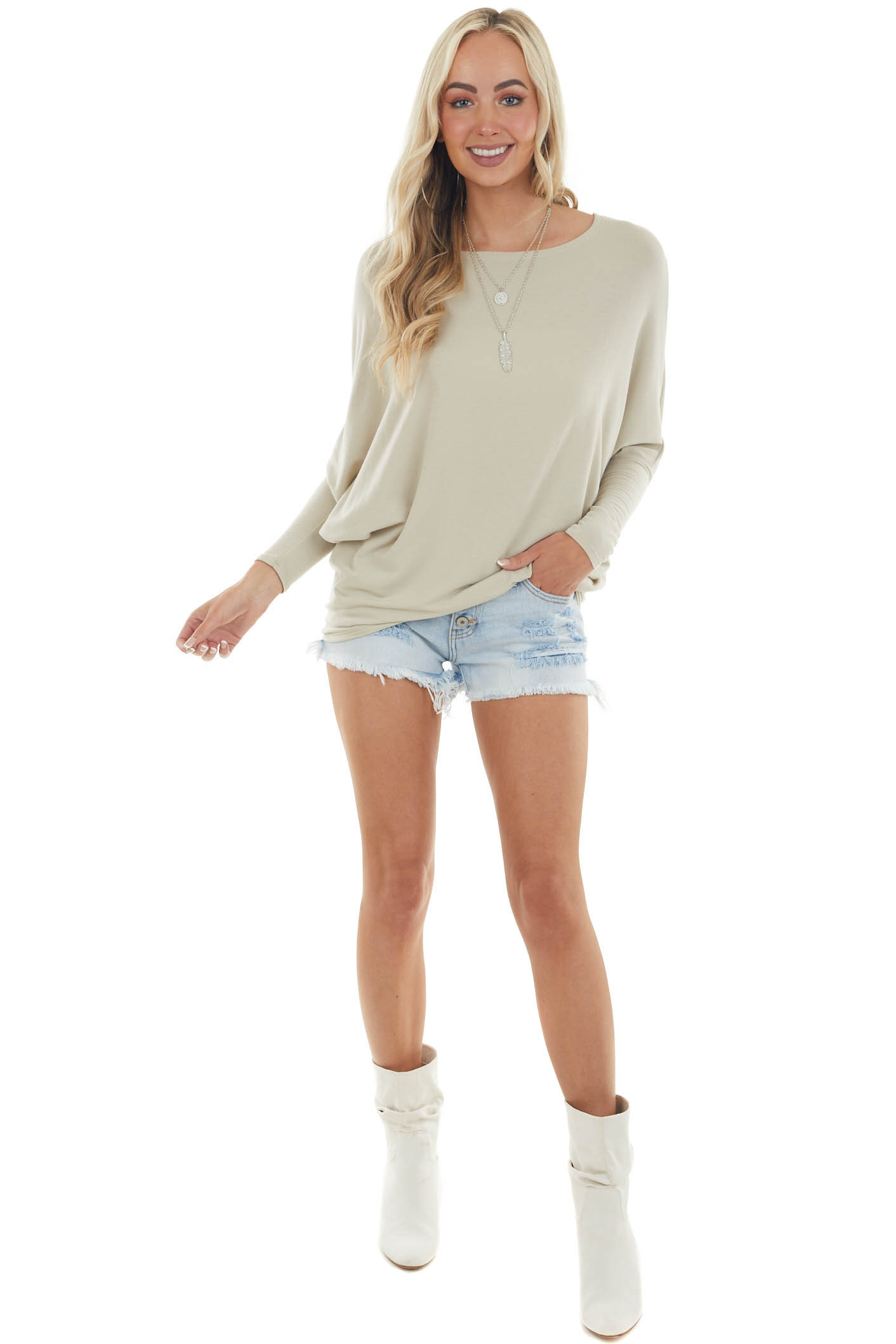 Oatmeal Round Neck Top with Long Dolman Sleeves