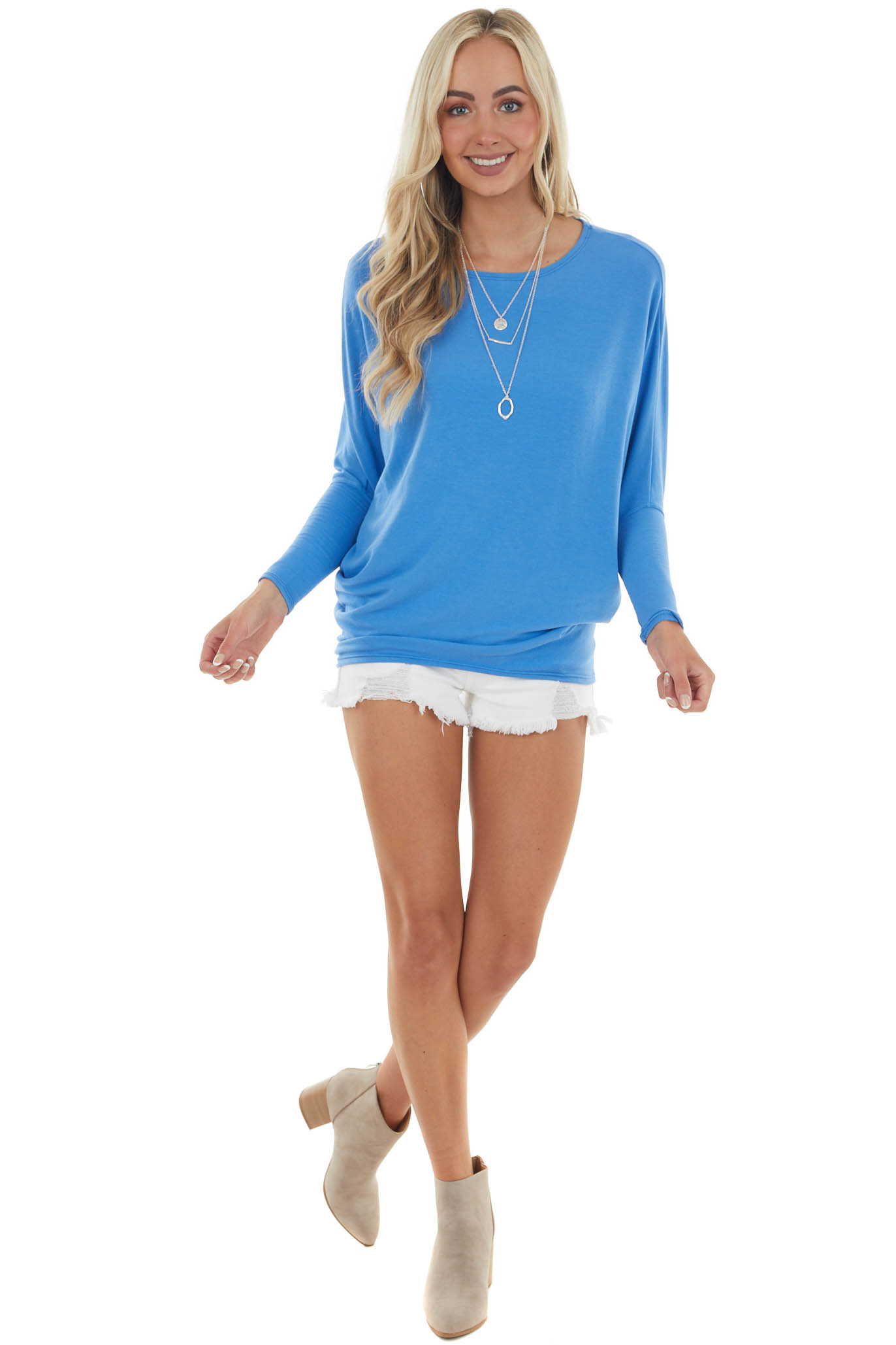 Cornflower Round Neck Top with Long Dolman Sleeves