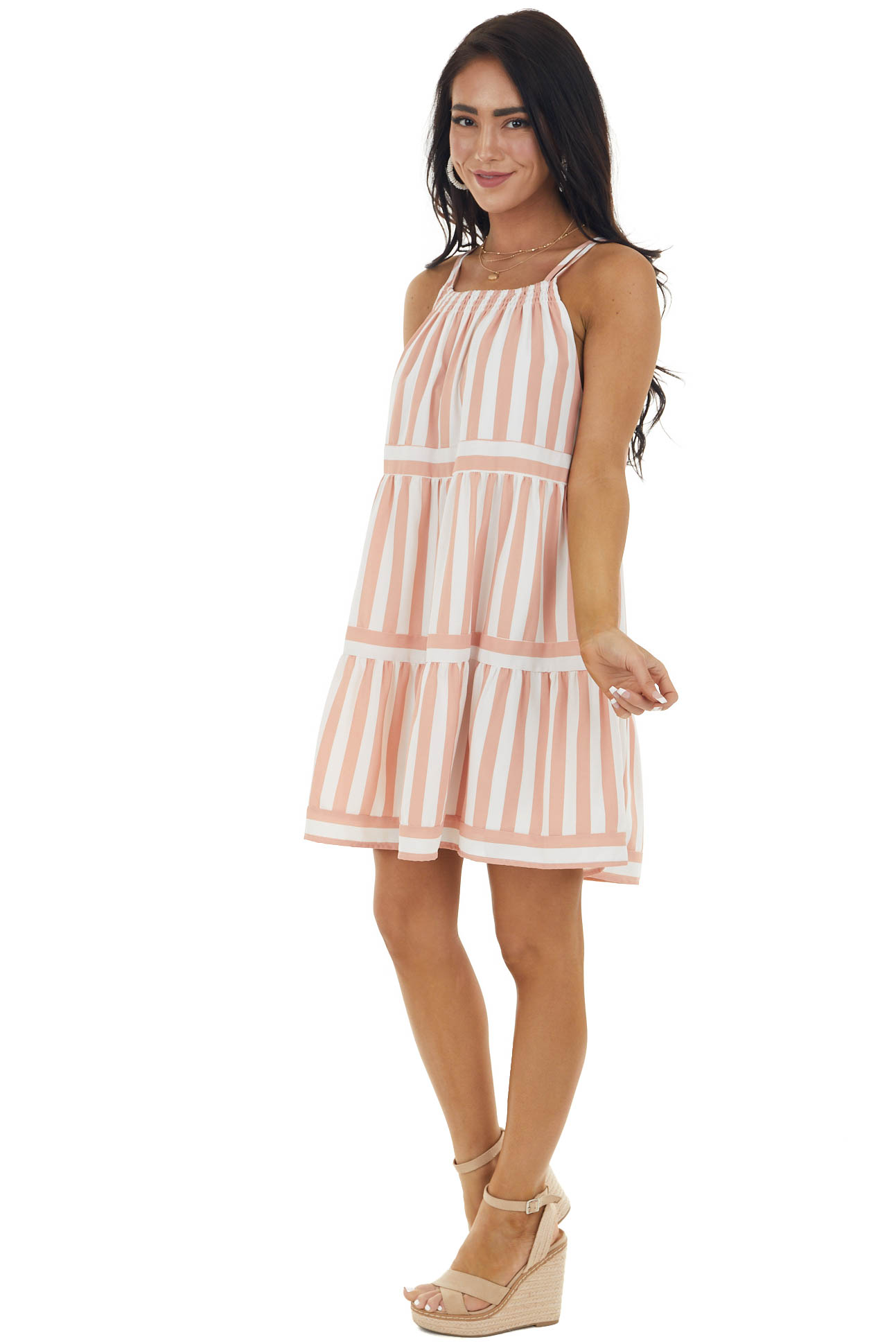 Dusty Coral Striped Halter Neck Tiered Dress