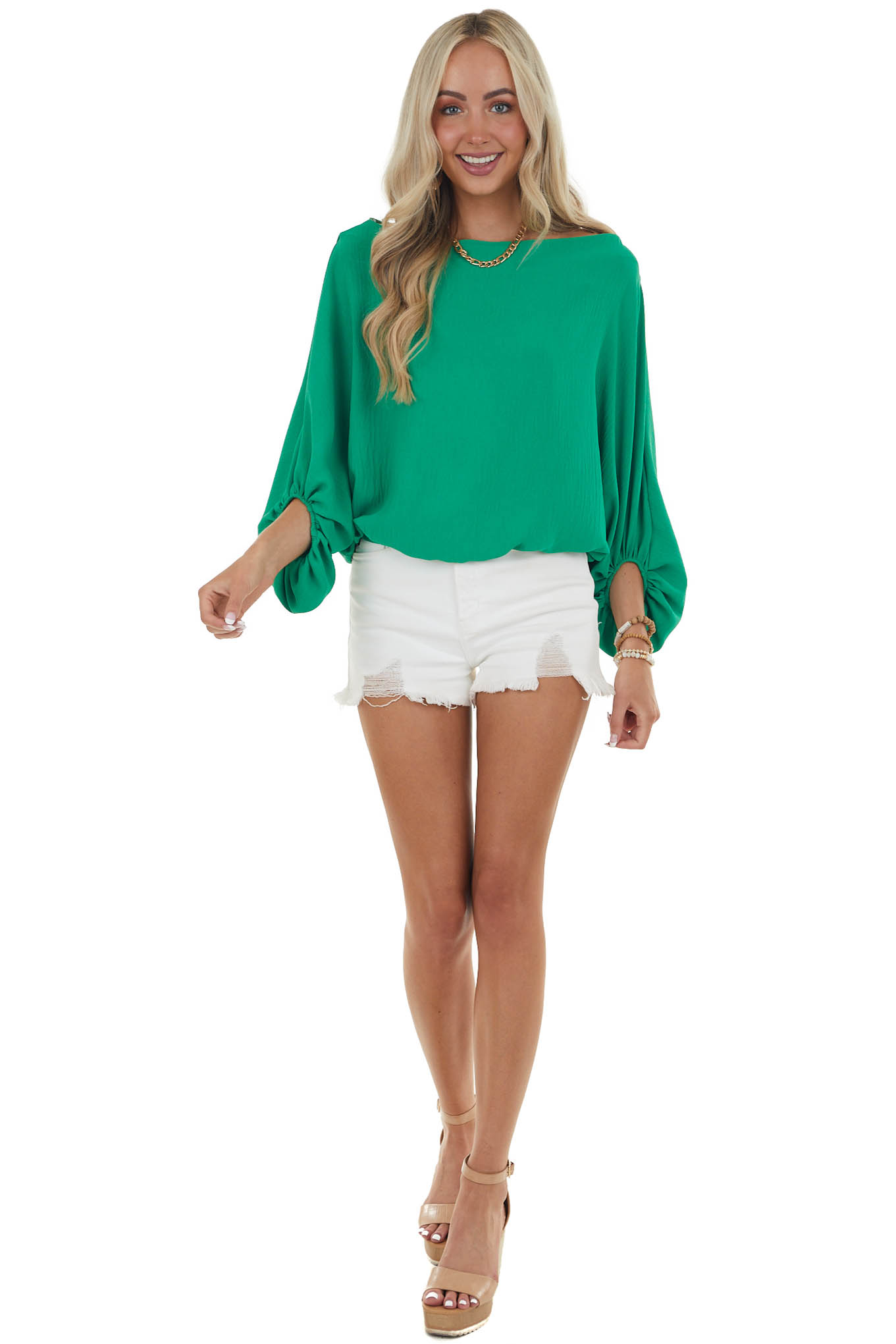 Jade Boat Neckline Blouse with Dolman Bubble Sleeves