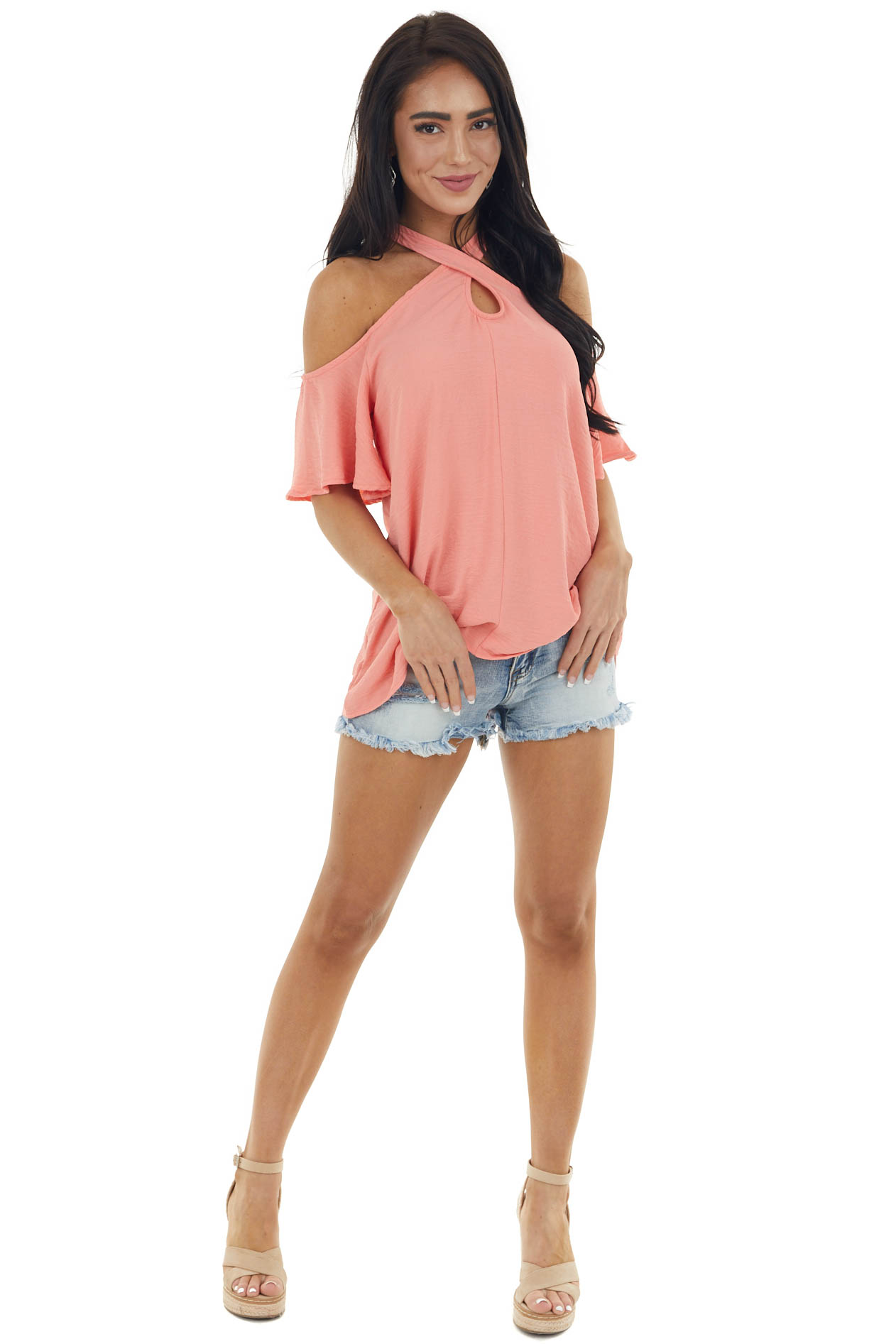 Coral Cold Shoulder Blouse with Criss Cross Halter Neck