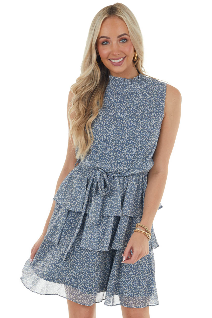 Ocean and Sand Ditsy Floral Print Dress