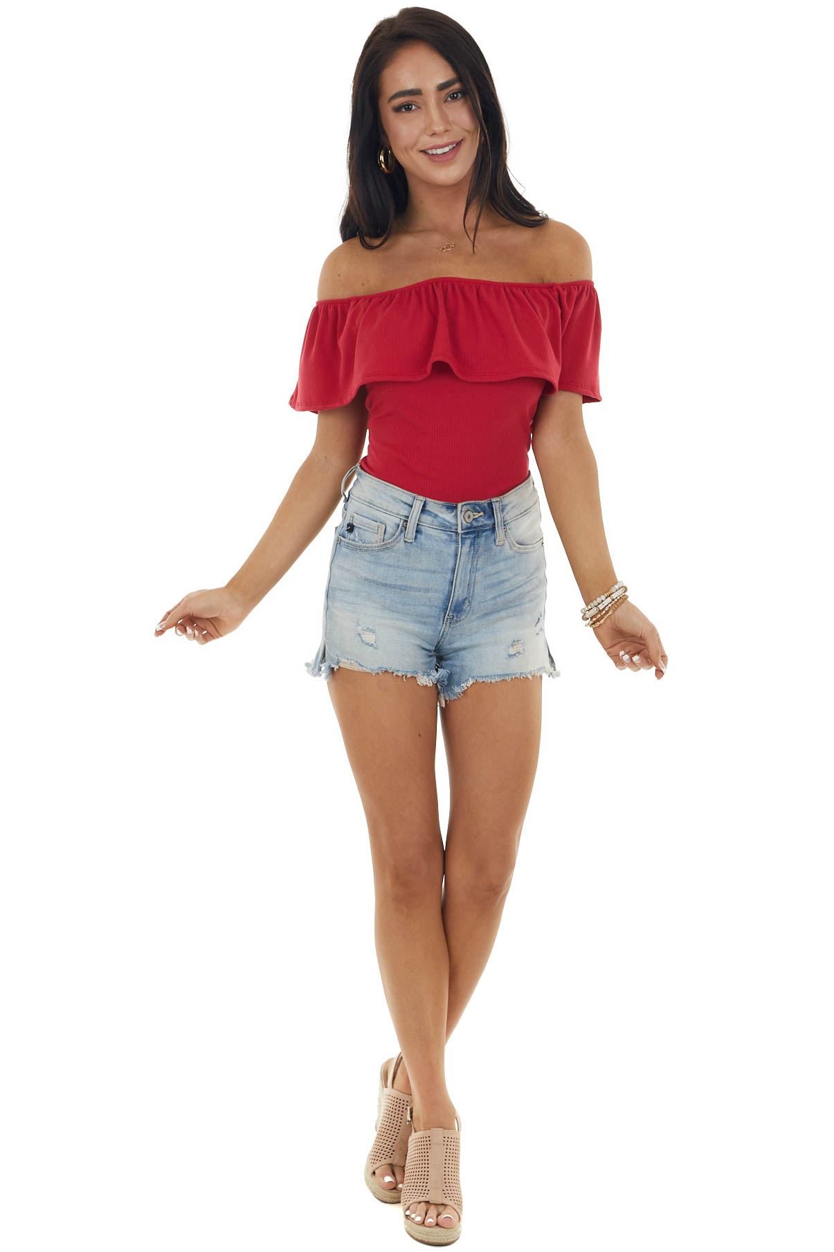 Cherry Ribbed Off Shoulder Ruffle Bodysuit