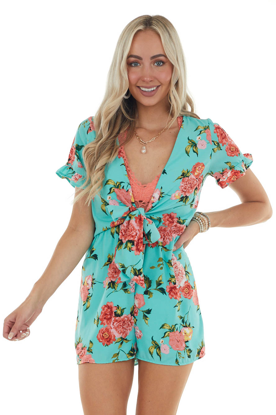 Turquoise and Floral Print Deep V Romper