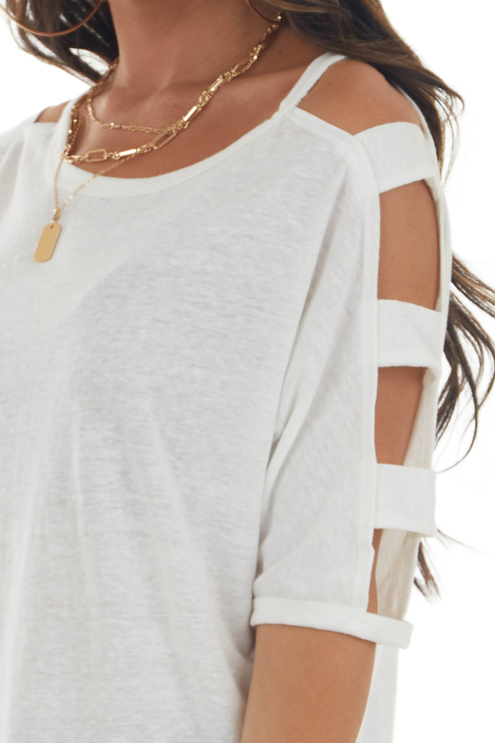 Off White Melange Ladder Cut Out Sleeve Tee
