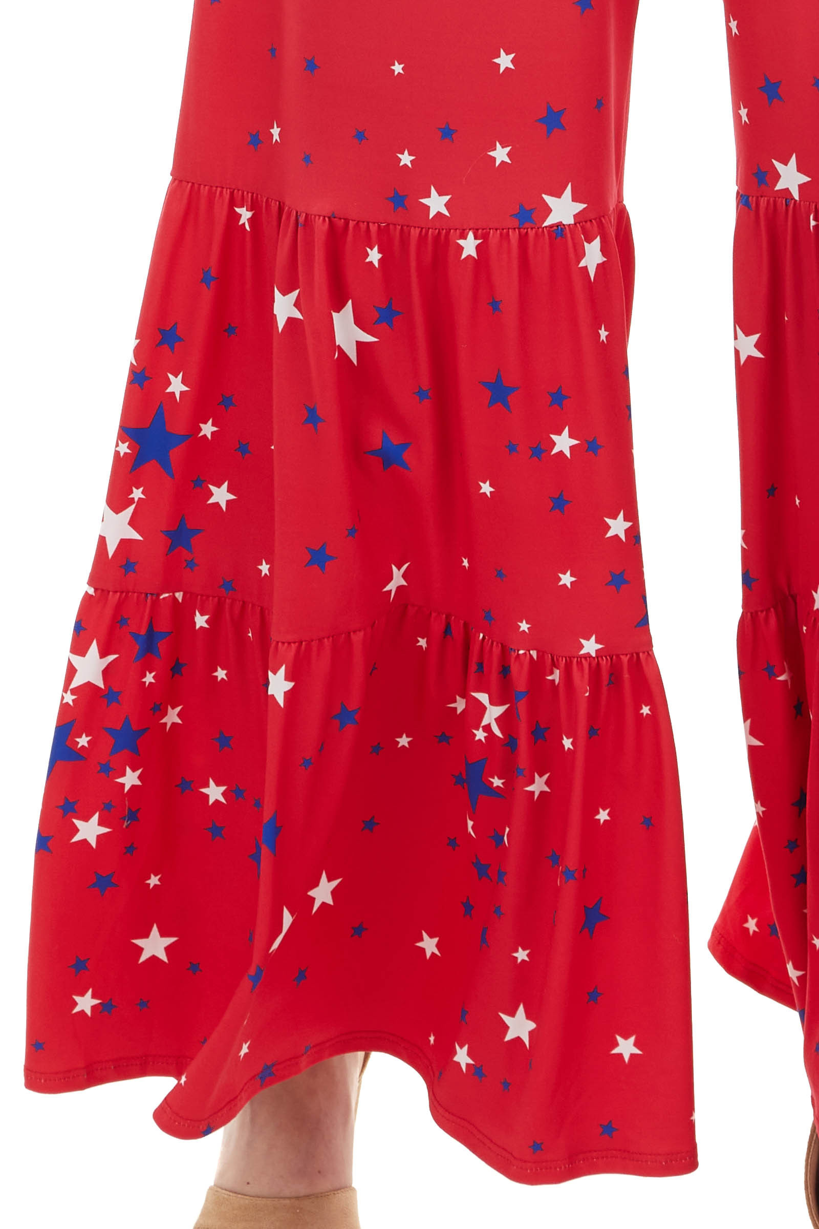 Ruby Red Star Print Sleeveless Tiered Jumpsuit