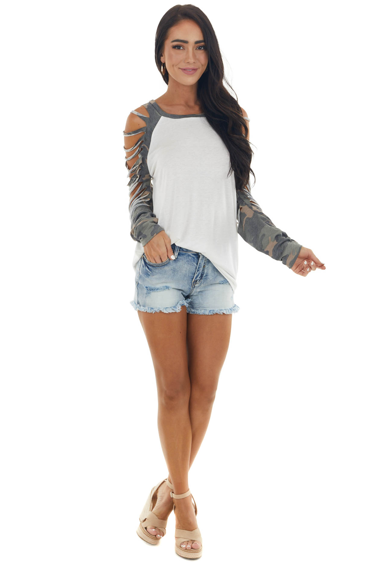 Ivory Camo Contrast Ladder Cut Out Sleeve Top