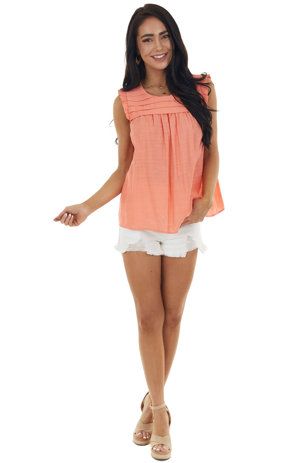 Coral Sleeveless Woven Top with Keyhole Detail