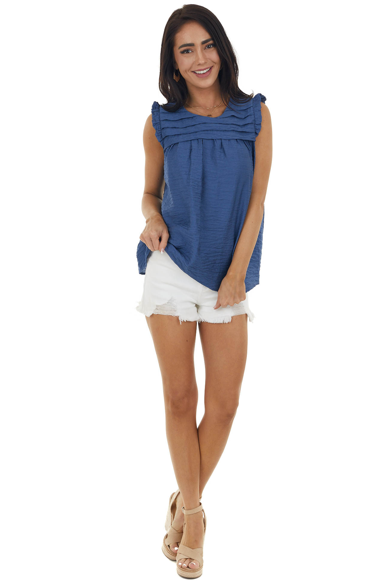 Cobalt Sleeveless Top with Keyhole Detail
