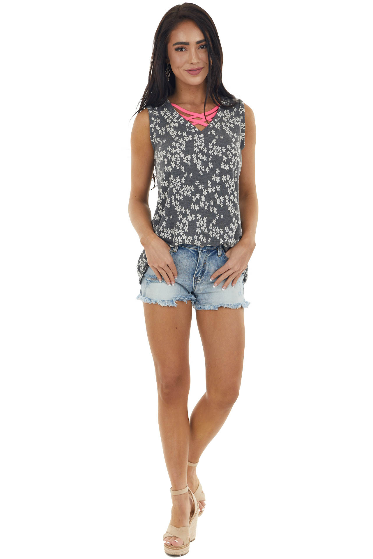 Graphite Ditsy Floral Criss Cross Neck Top