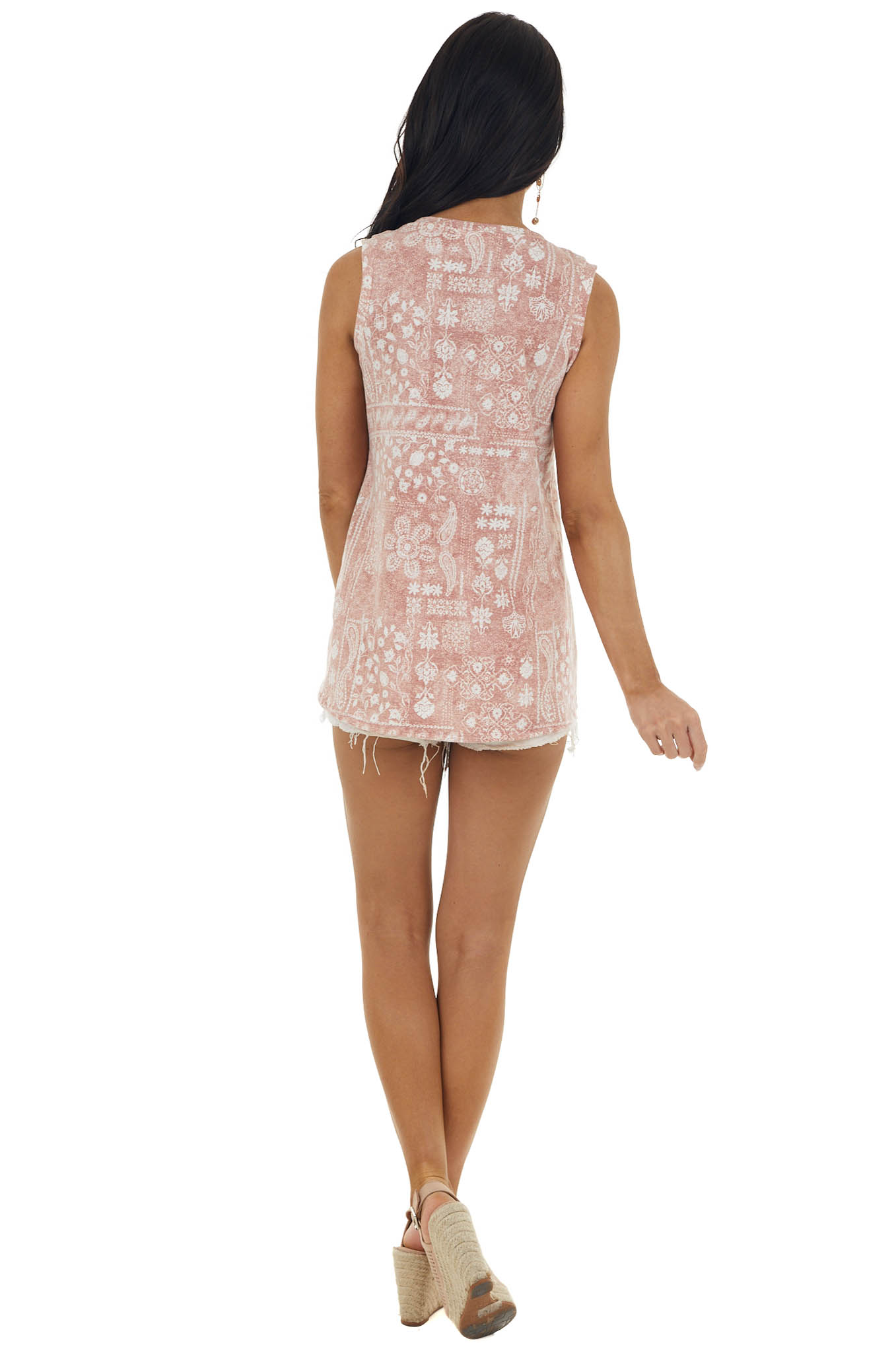 Dusty Rose Abstract Print Criss Cross Neck Top