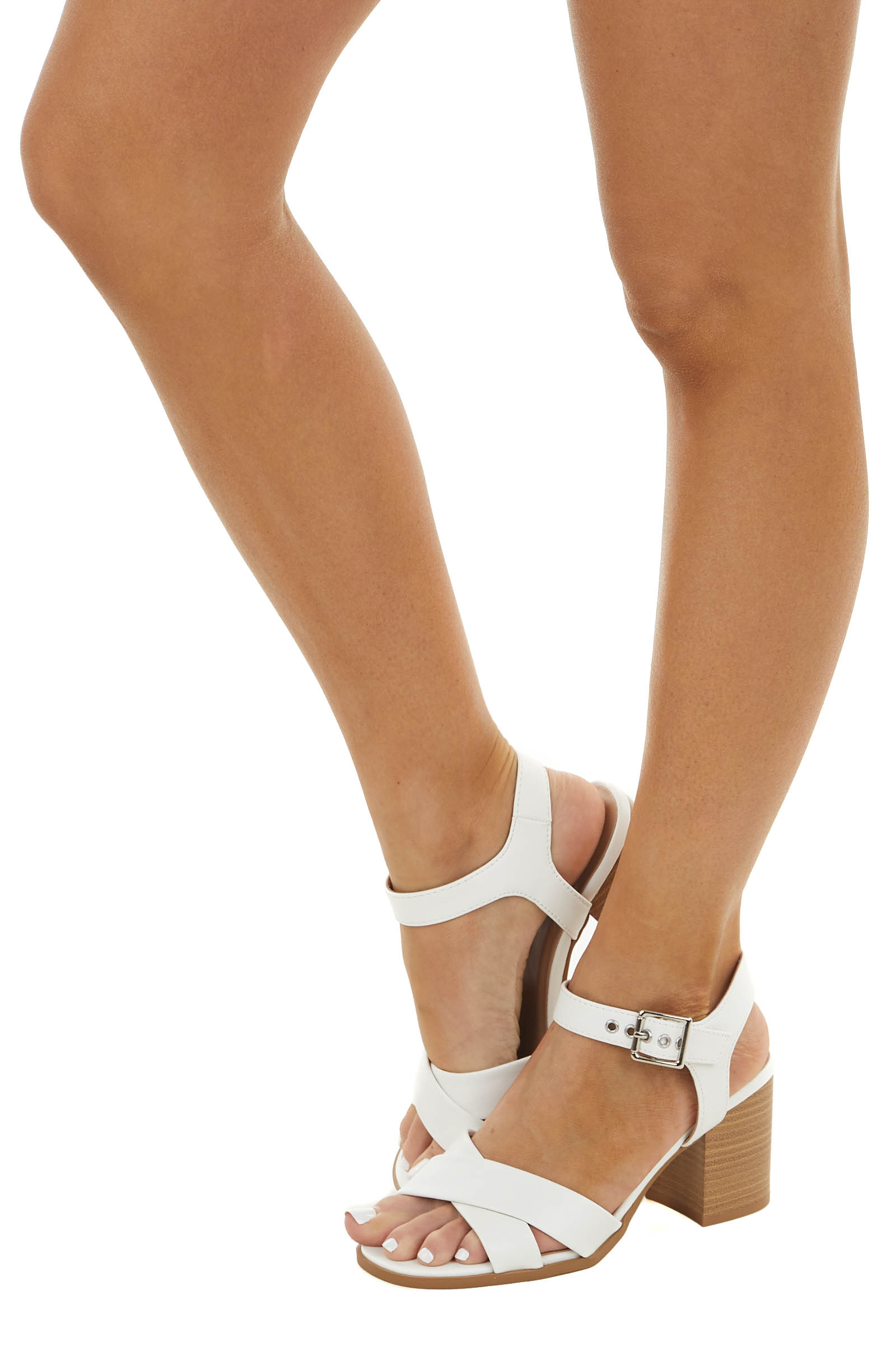 White Criss Cross Heels with Silver Buckle