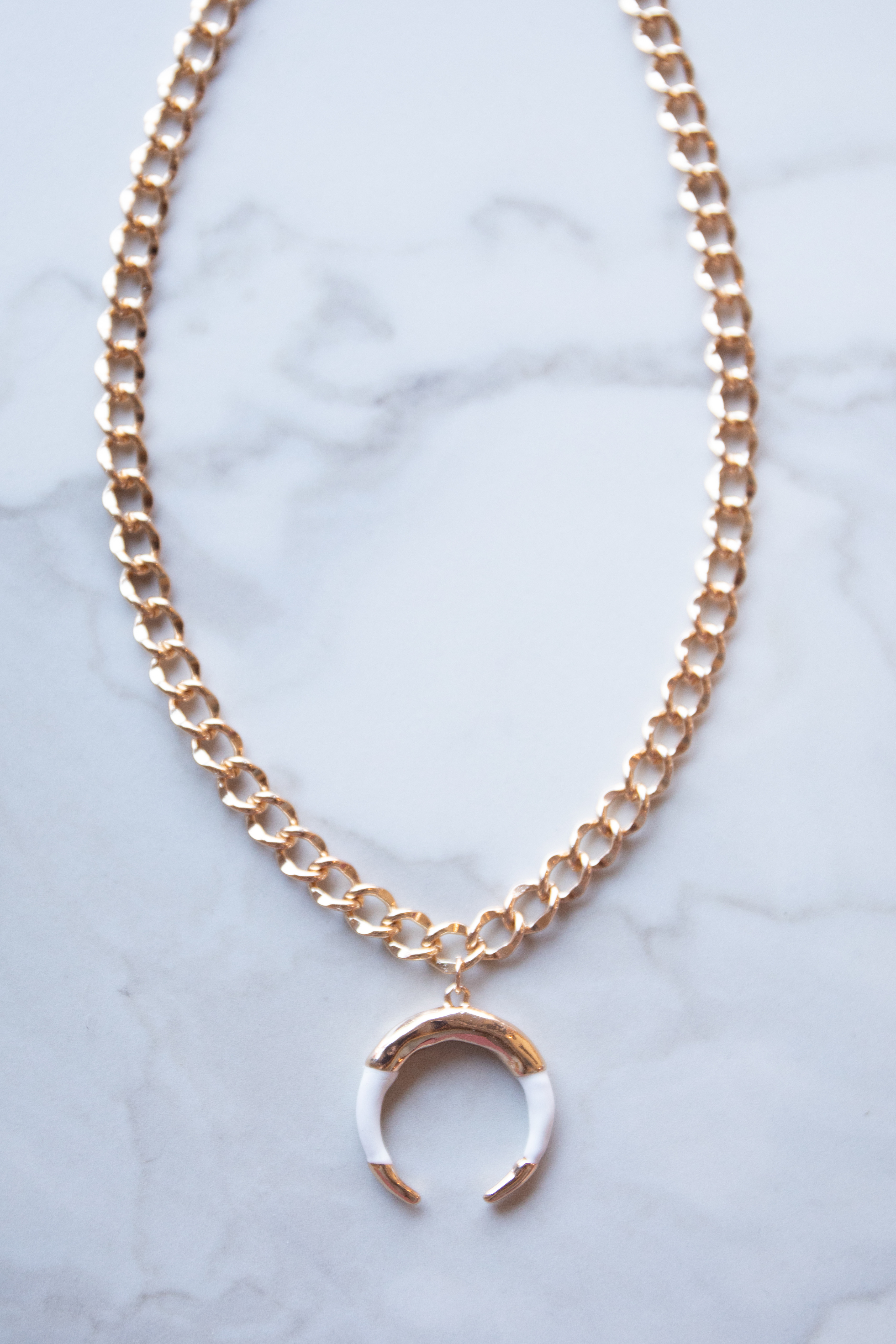 Gold Chunky Chain Crescent Pendant Necklace