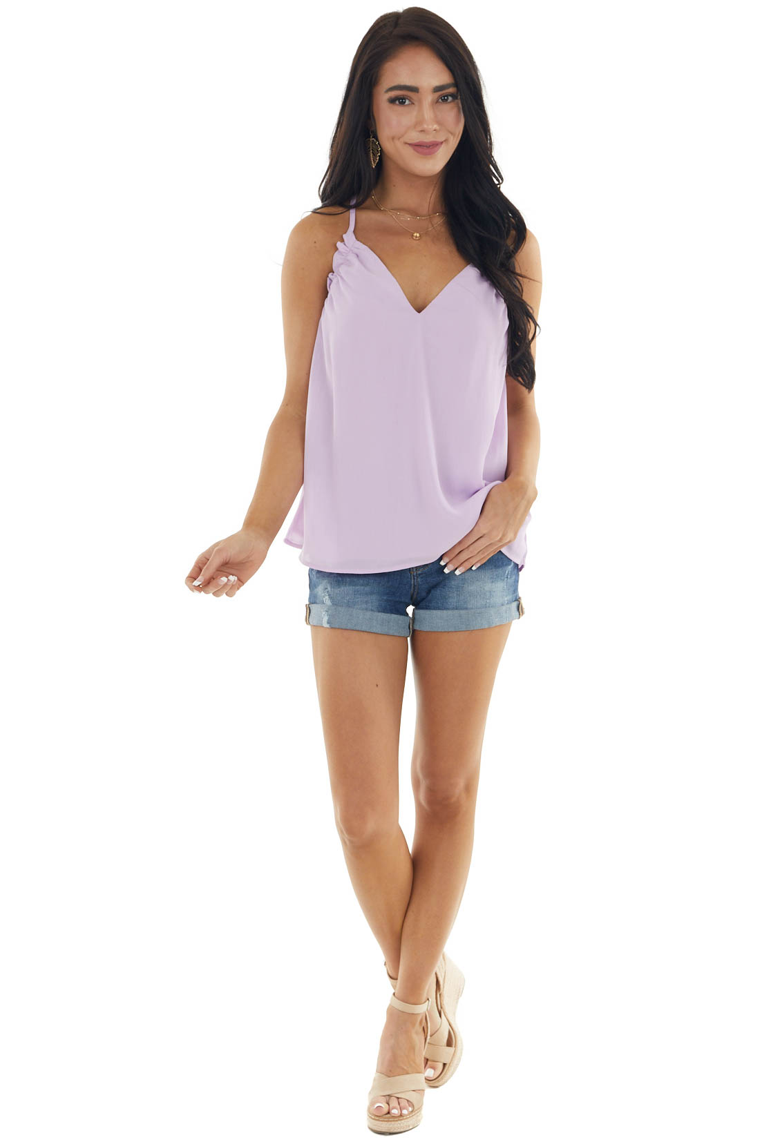 Lavender Sleeveless Blouse with Frill Detail