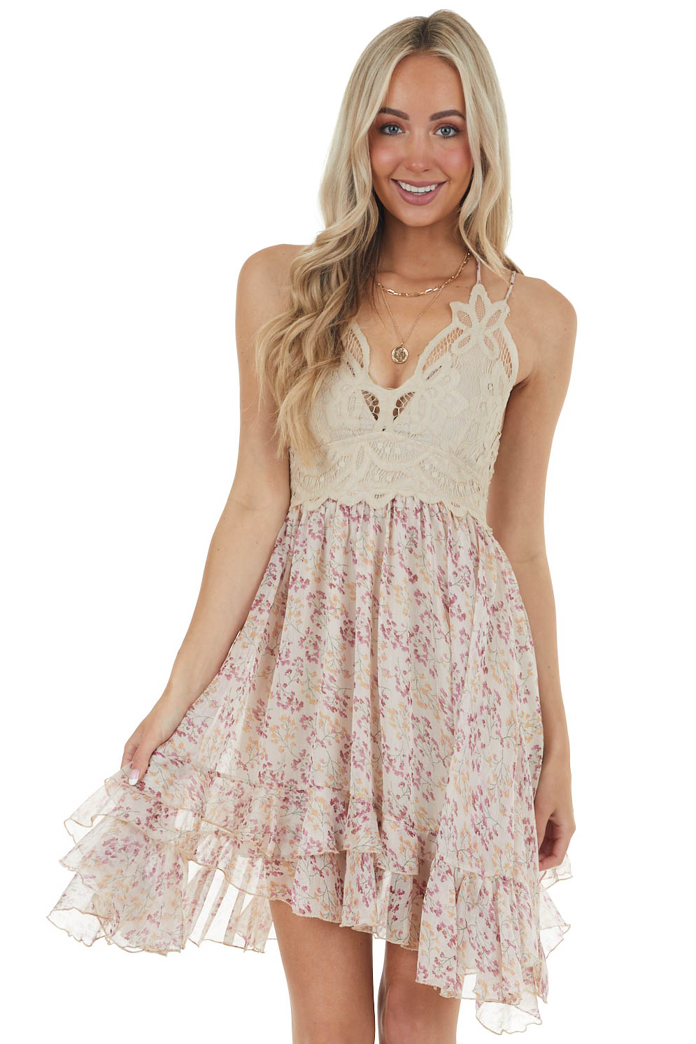 Champagne and Thulian Floral Lace Mini Dress