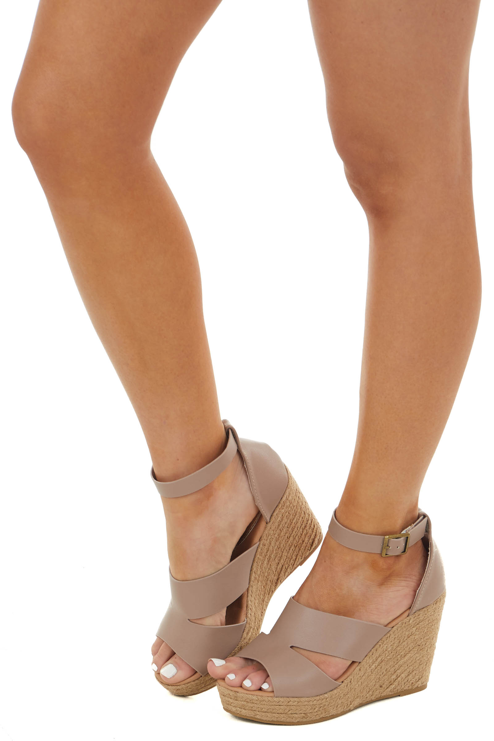 Rose Taupe Espadrille Wedge with Cut Outs