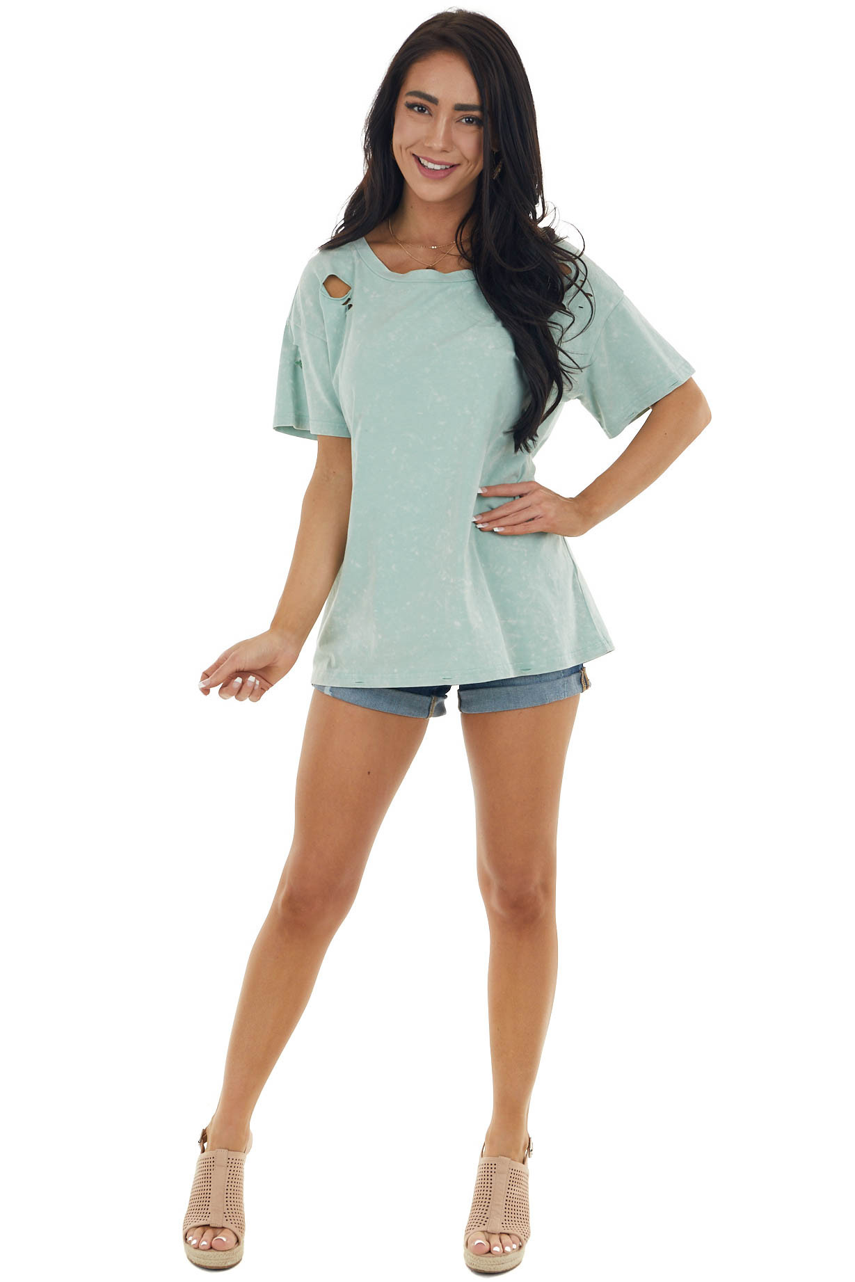 Vintage Mint Knit Top with Laser Cutouts