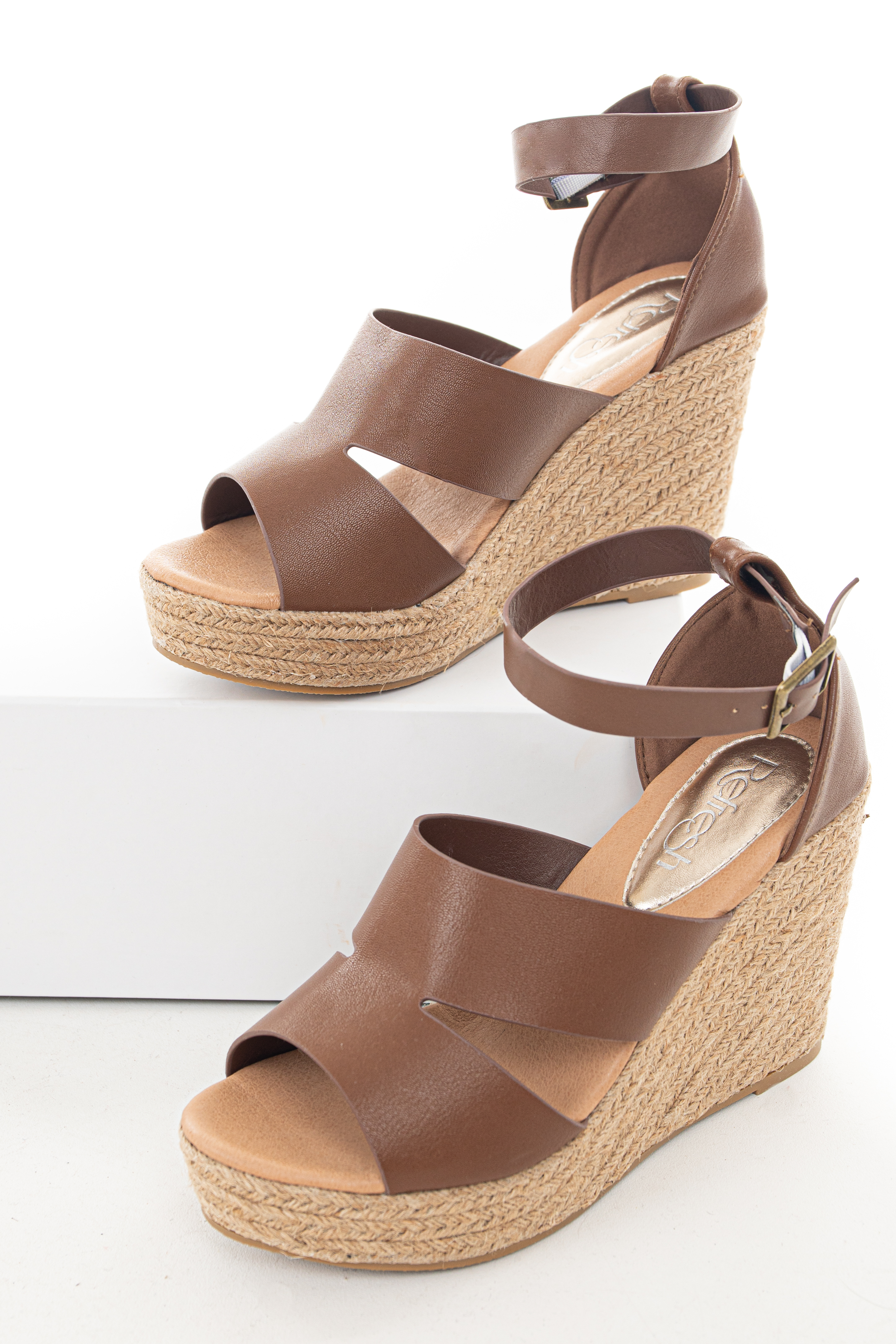 Sepia Brown Espadrille Wedge with Cut Outs