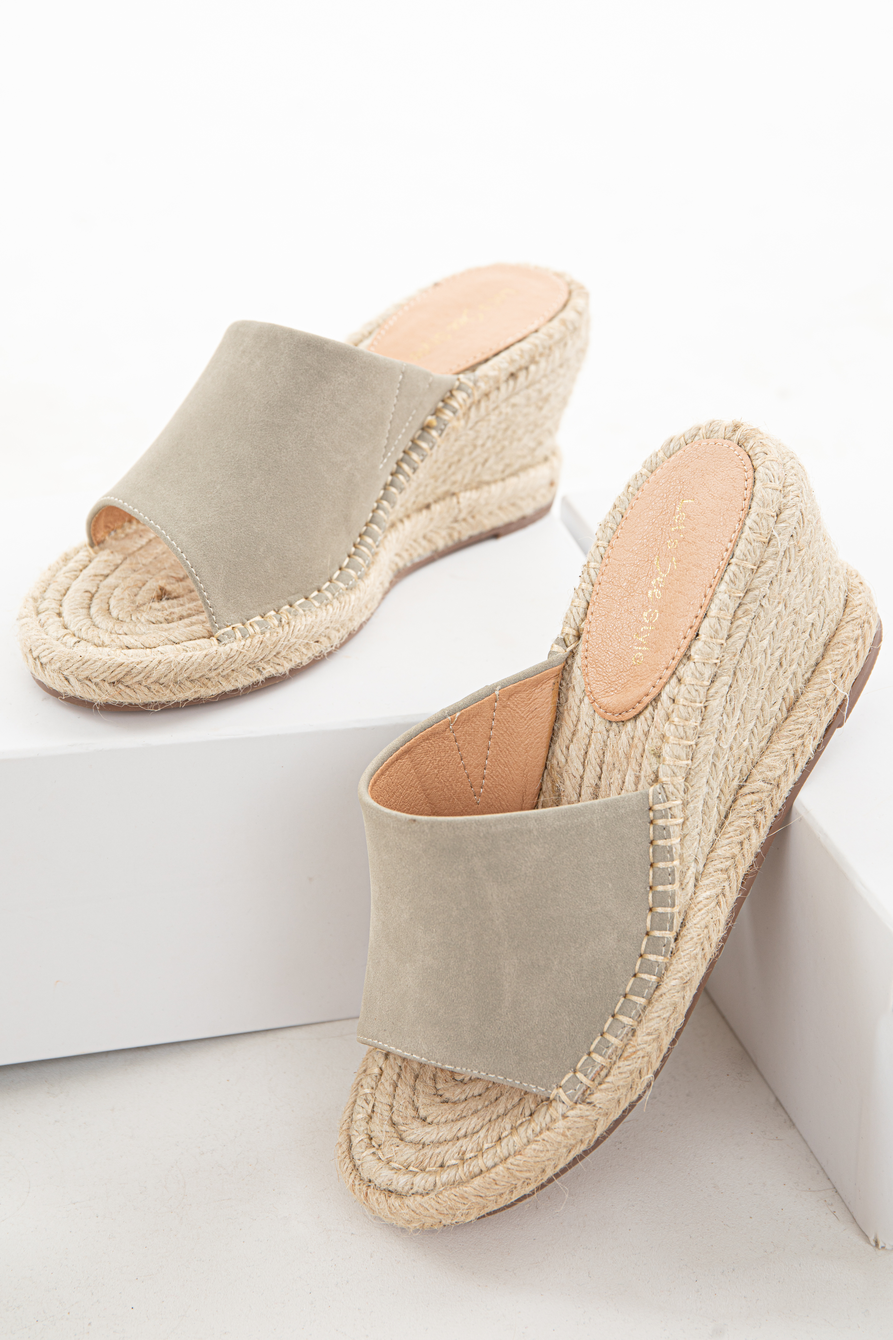 Ash Grey Faux Leather Textured Espadrille Wedges