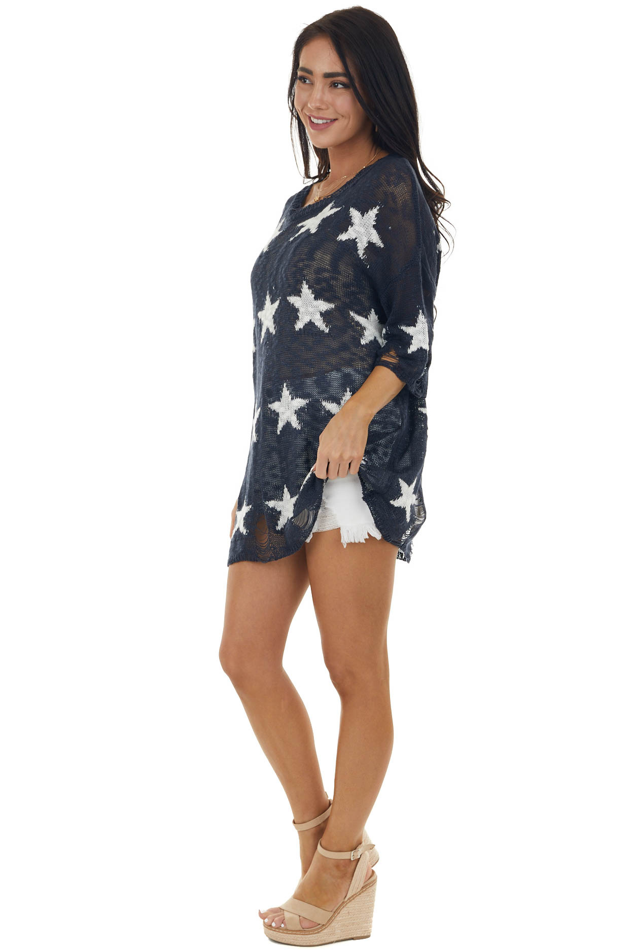 Navy Star Print Distressed Loose Knit Top